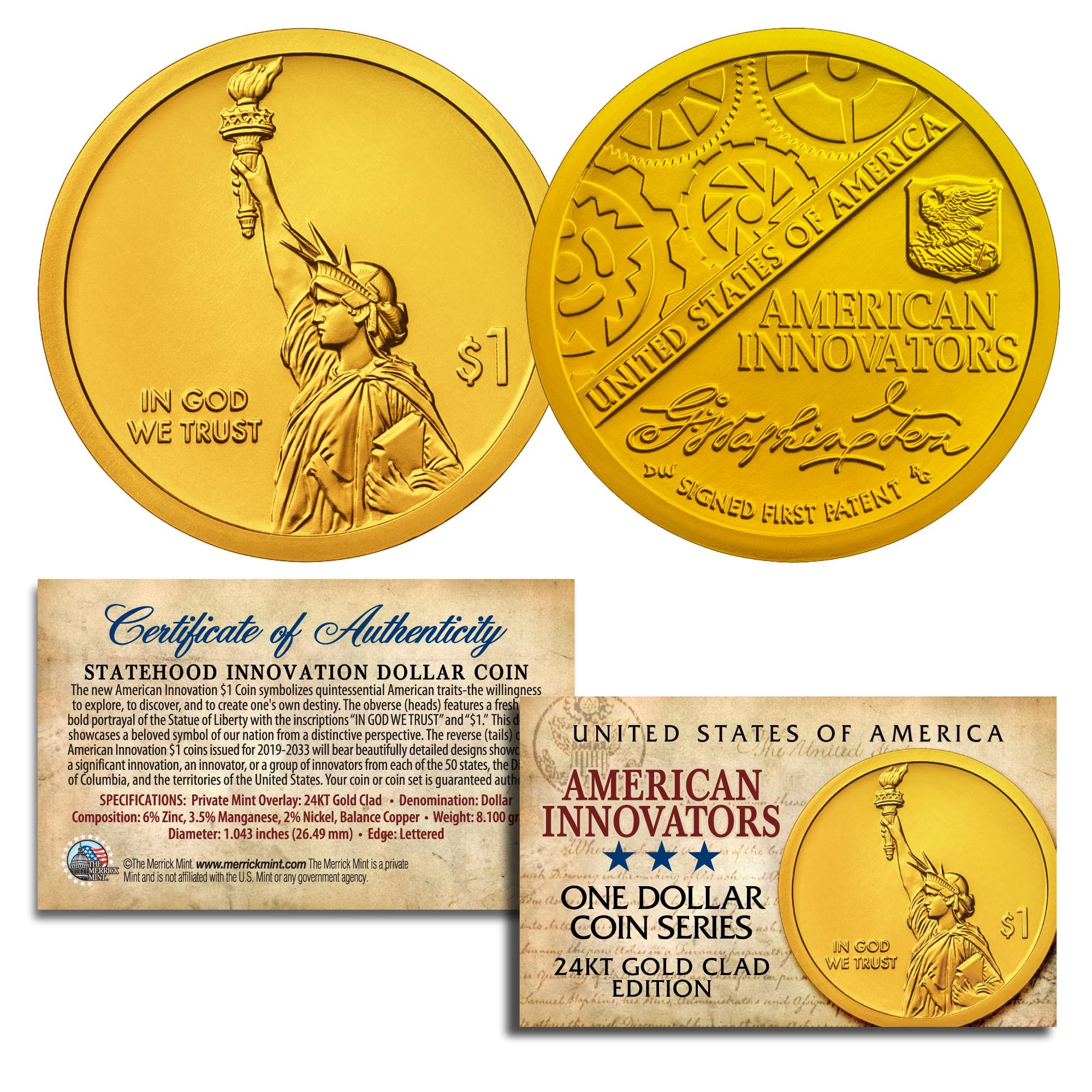 Mint Coins Money 2018 D American Innovation Innovators Golden One Dollars U.S