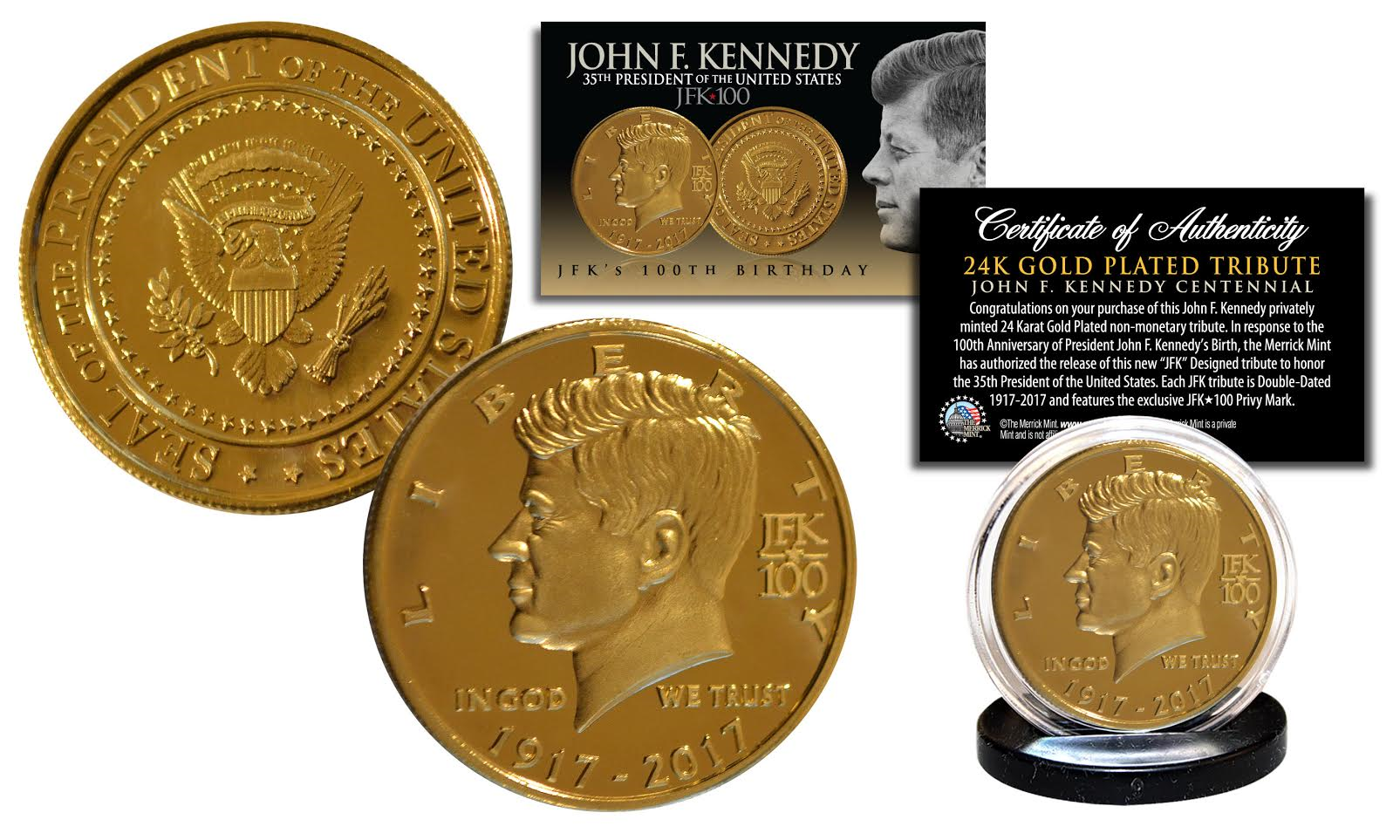 Jfk Kennedy 35th President 100th Birthday Celebration 24k