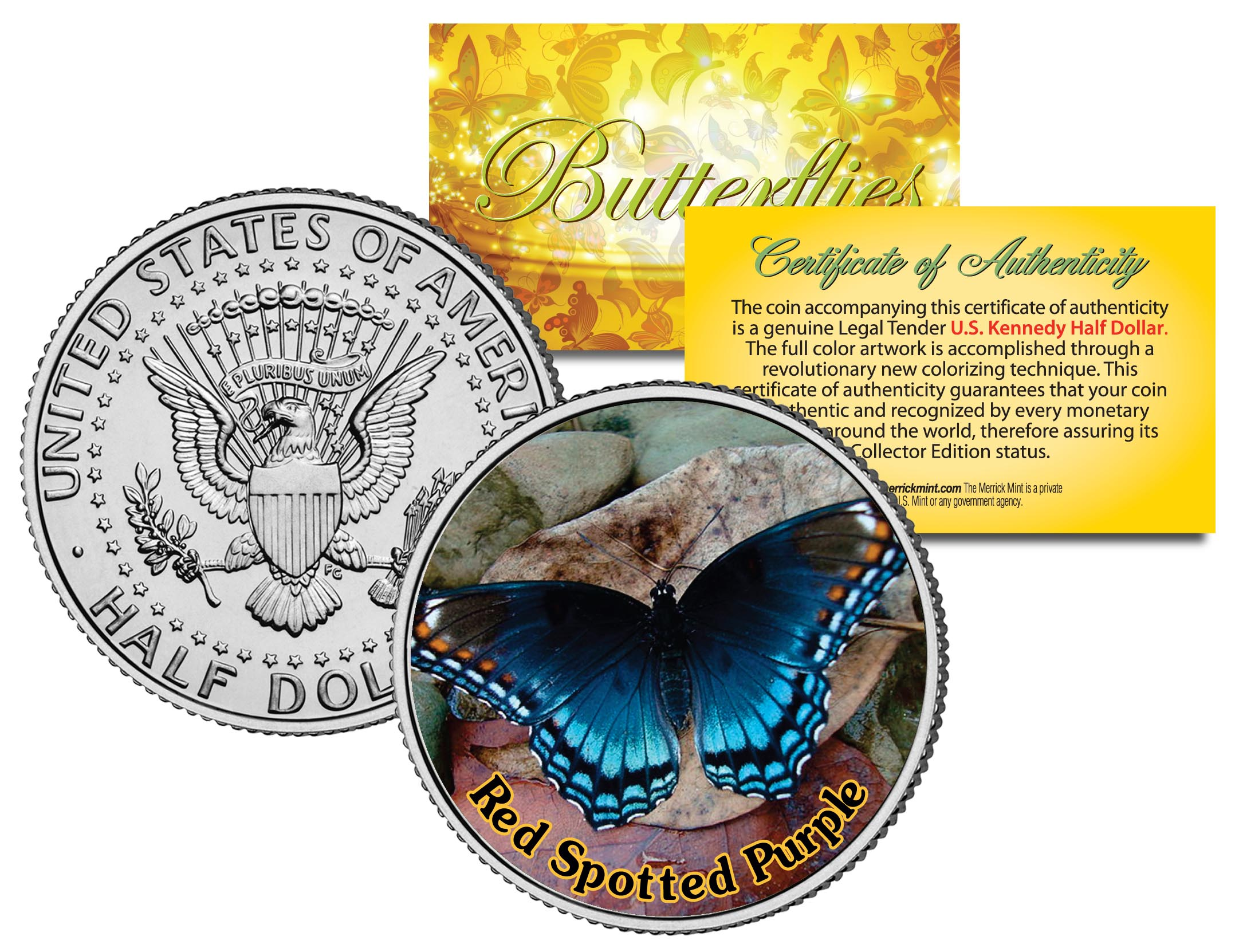 RED SPOTTED PURPLE BUTTERFLY JFK Kennedy Half Dollar US Colorized Coin