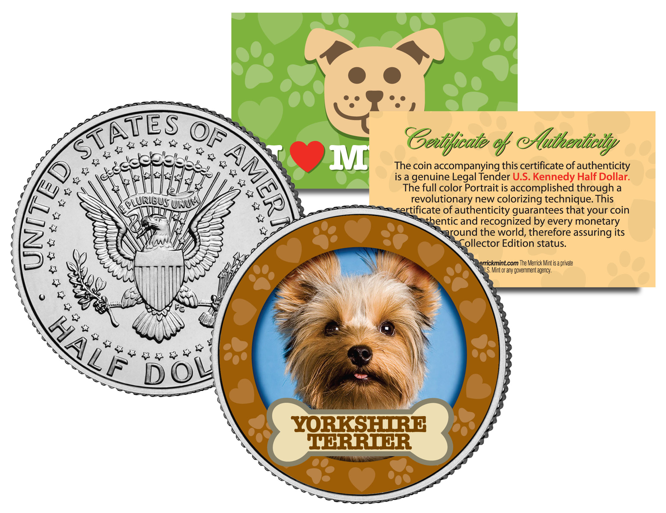 YORKSHIRE TERRIER Dog Limited Edition * JFK Half Dollar Colorized US Coin
