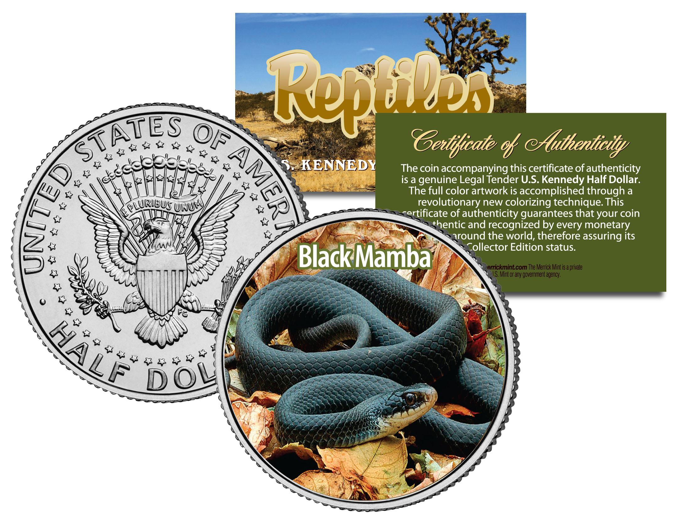 EASTERN GARTER SNAKE *Collectible Reptiles* JFK Half Dollar Colorized U.S Coin