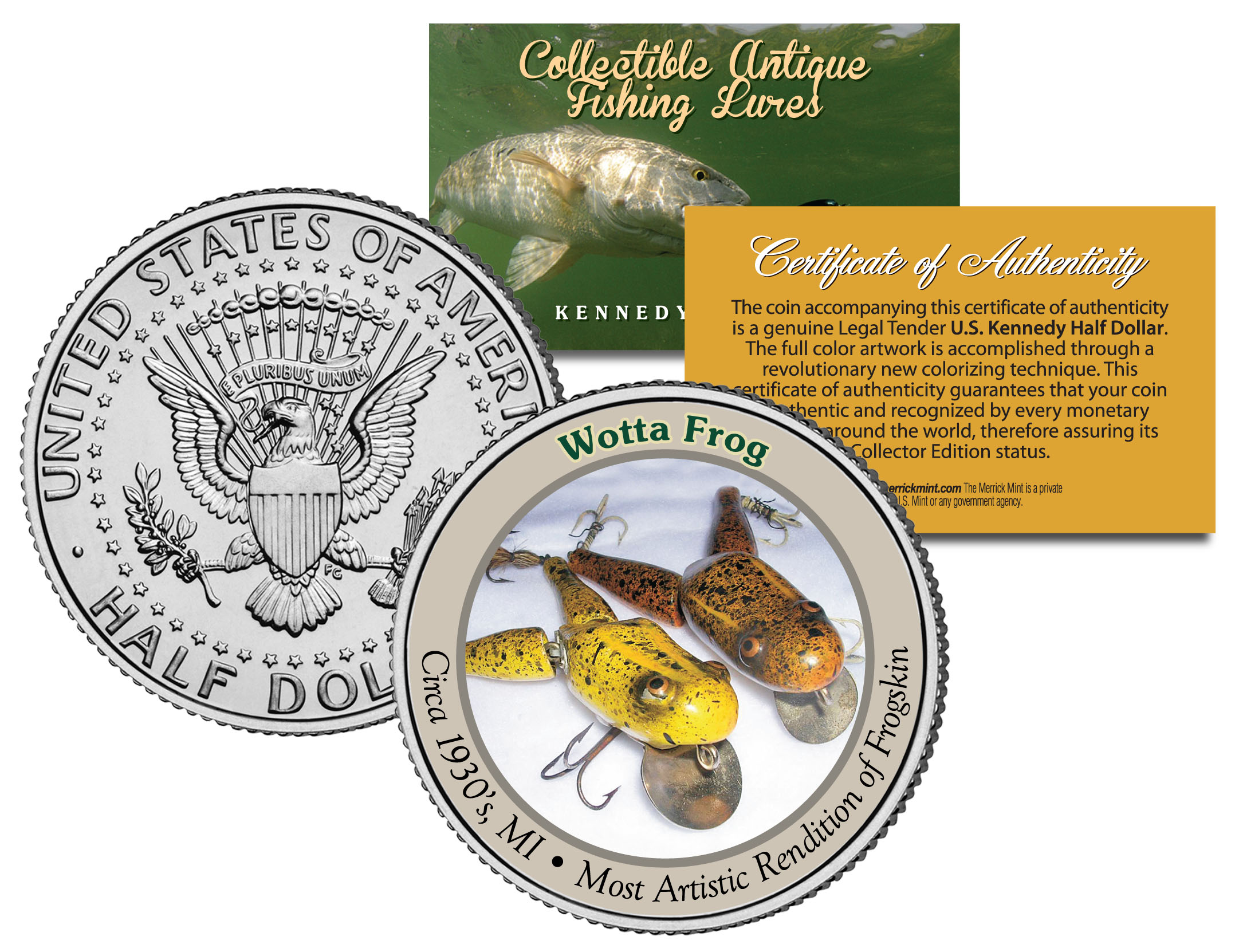 WOTTA FROG Collectible Antique Fishing Lures JFK Kennedy Half Dollar US Coin