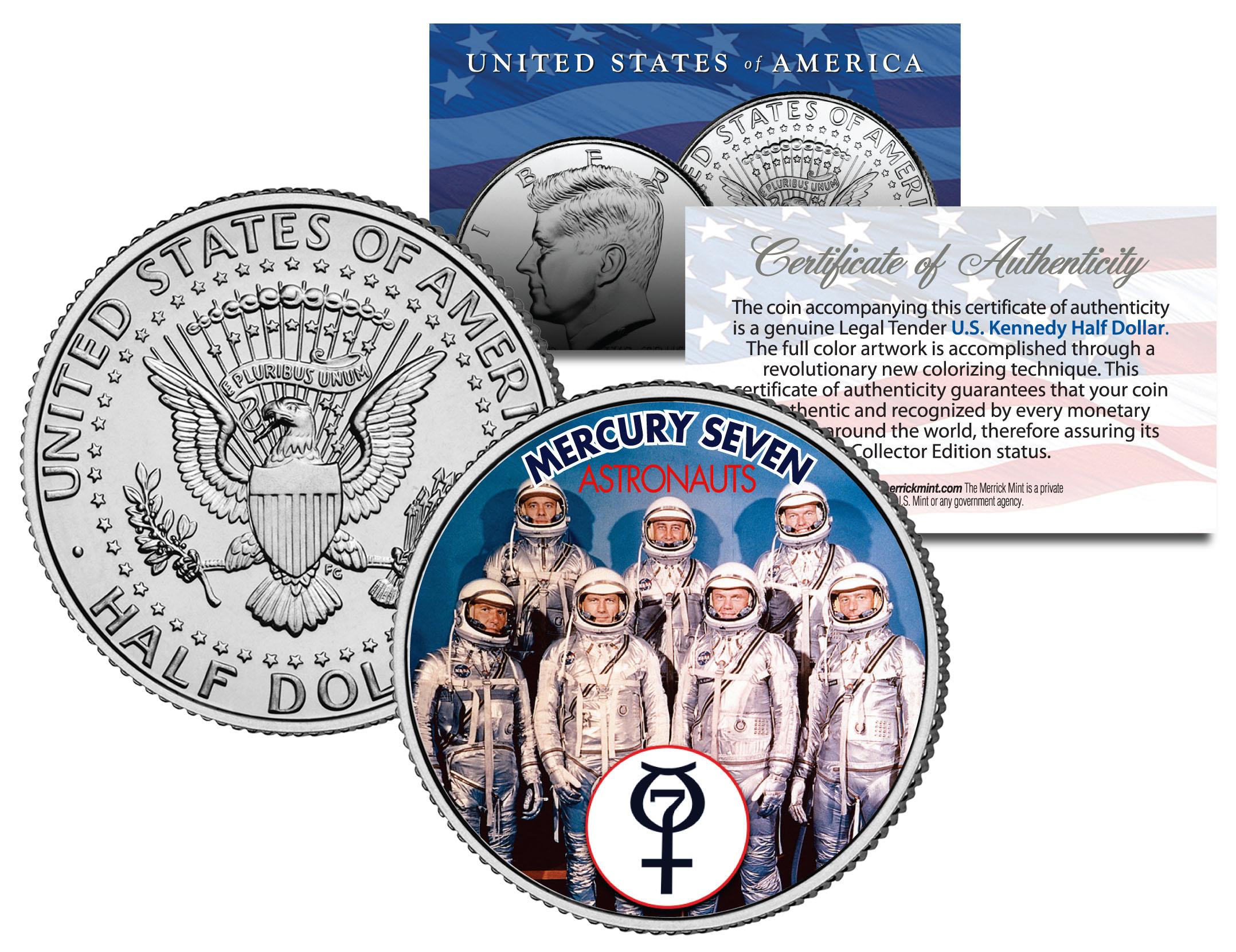 MERCURY SEVEN ASTRONAUTS Colorized JFK Half Dollar U.S ...