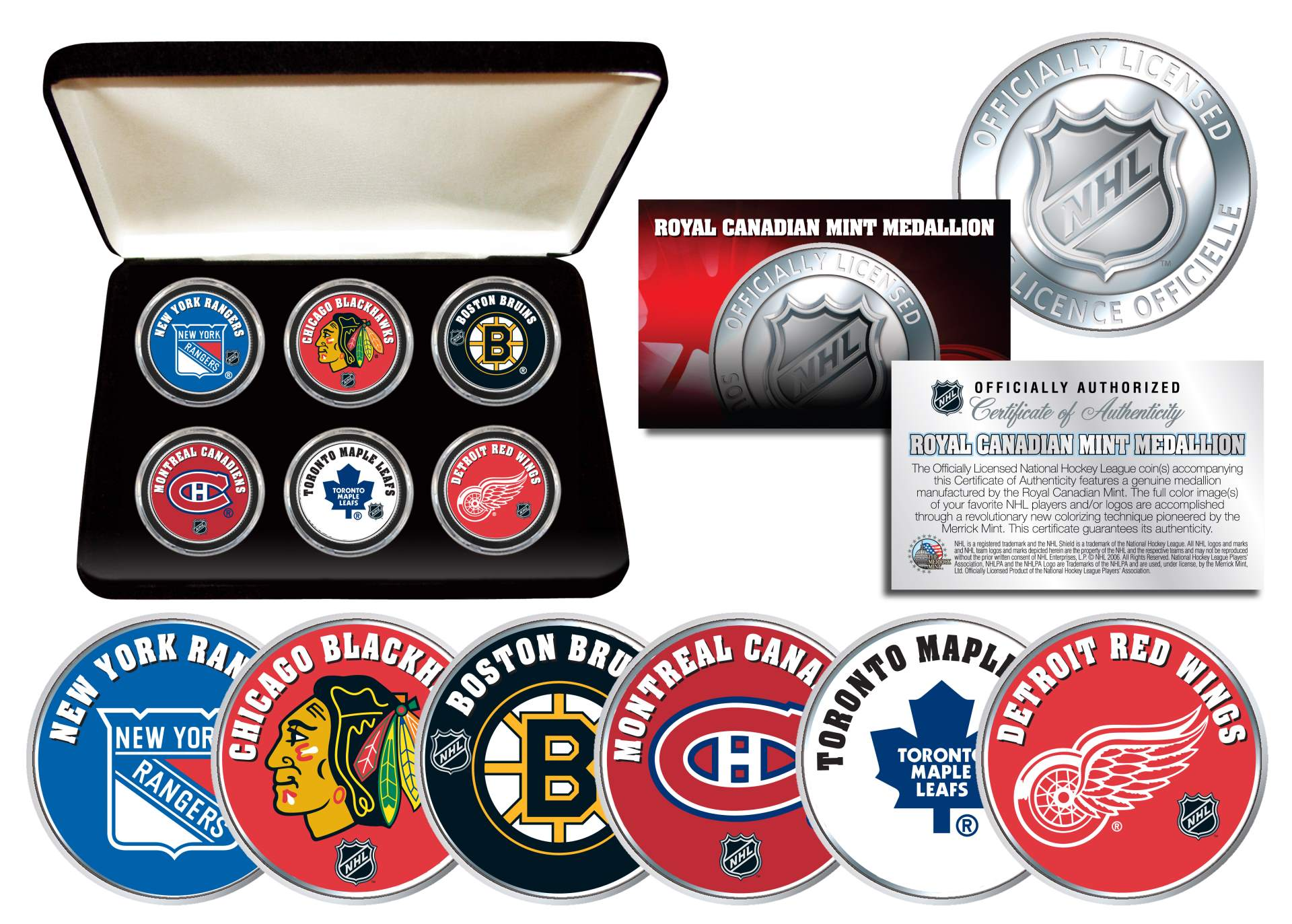 Nhl Original Six Teams Royal Canadian Mint Medallions 6