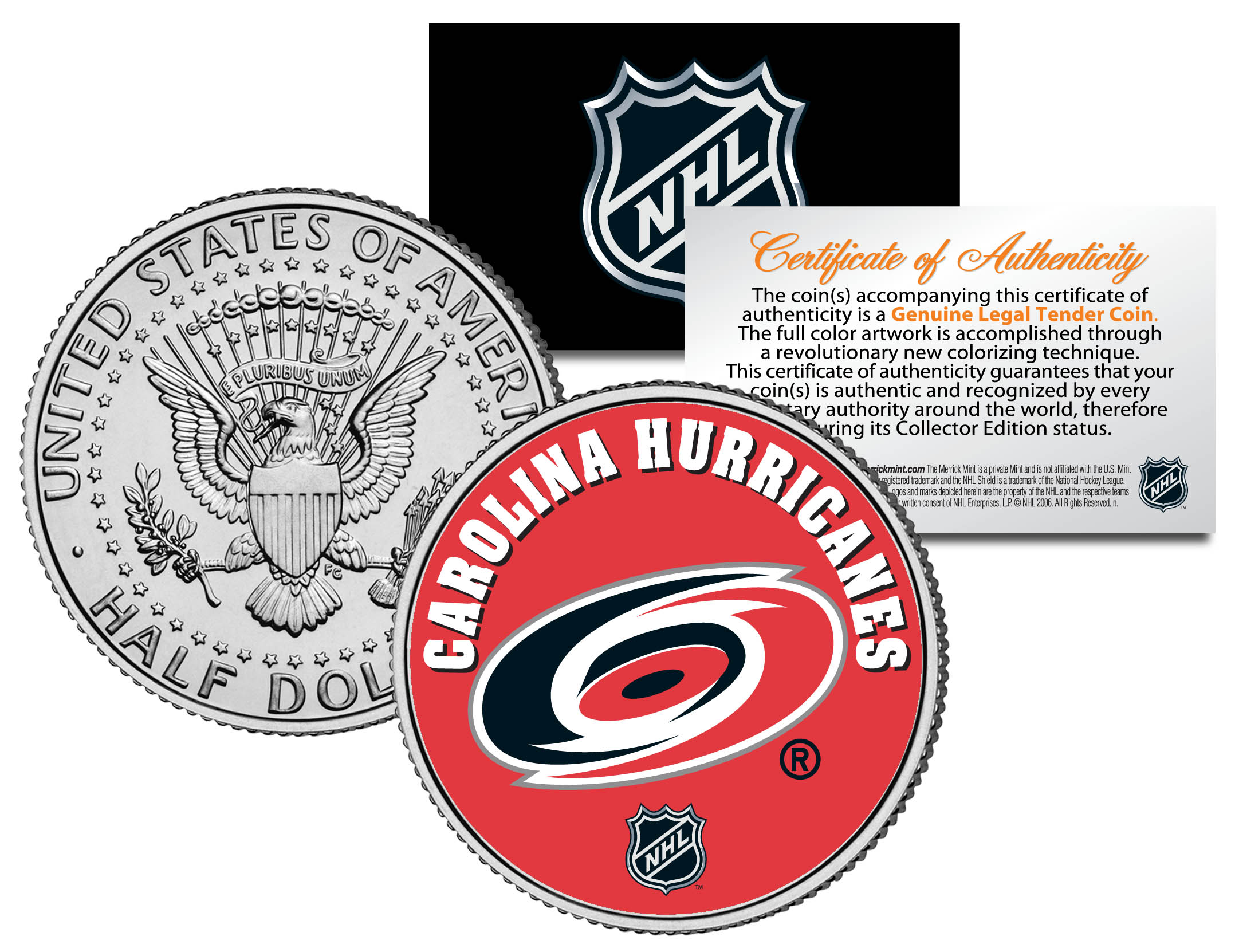 OFFICIALLY LICENSED Coin WASHINGTON CAPITALS NHL Hockey JFK Half Dollar U.S