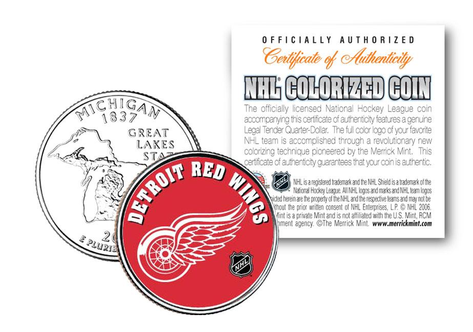 Detroit Red Wings Nhl Hockey Estado de Michigan trimestre coloreado ...