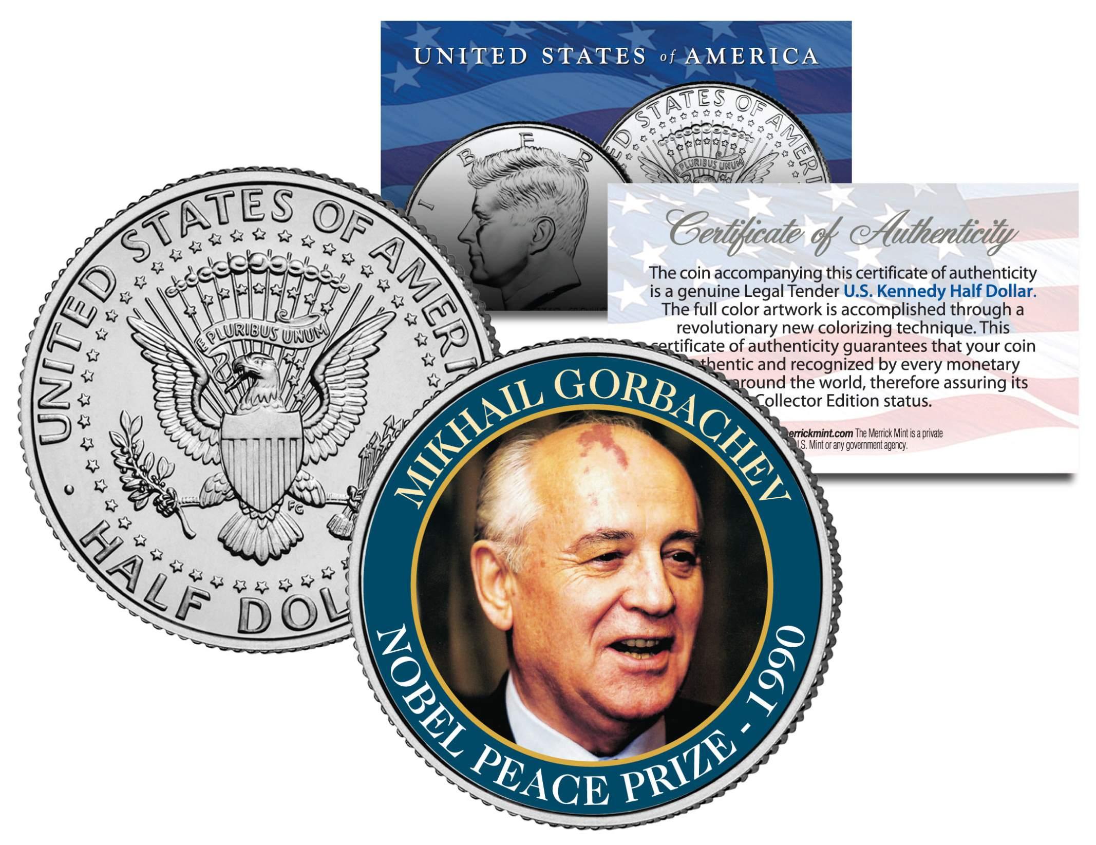 MIKHAIL GORBACHEV Coin Colorized JFK Half Dollar U.S 1990 NOBEL PEACE PRIZE