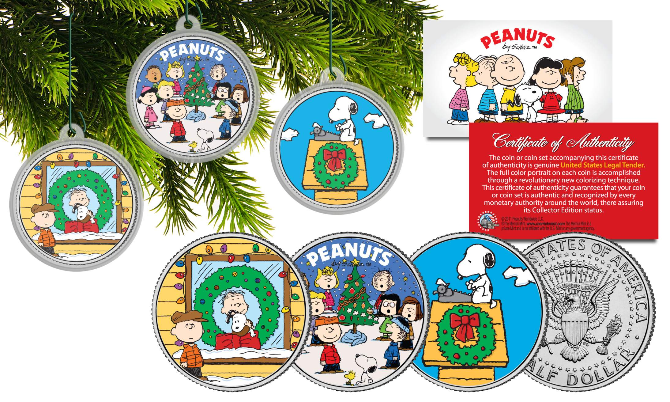 peanuts christmas charlie brown jfk half dollar 3 coin set tree ornaments snoopy - Peanuts Christmas