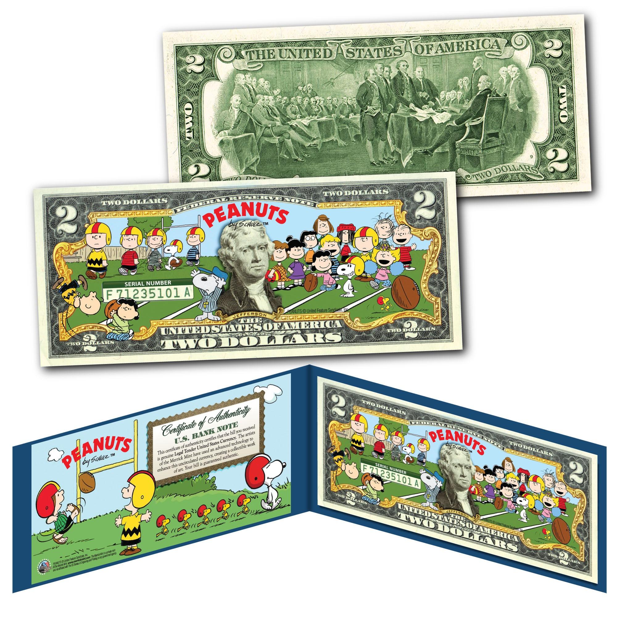 PEANUTS Snoopy Legal Tender U.S $2 Bill LICENSED Charlie Brown /& Gang