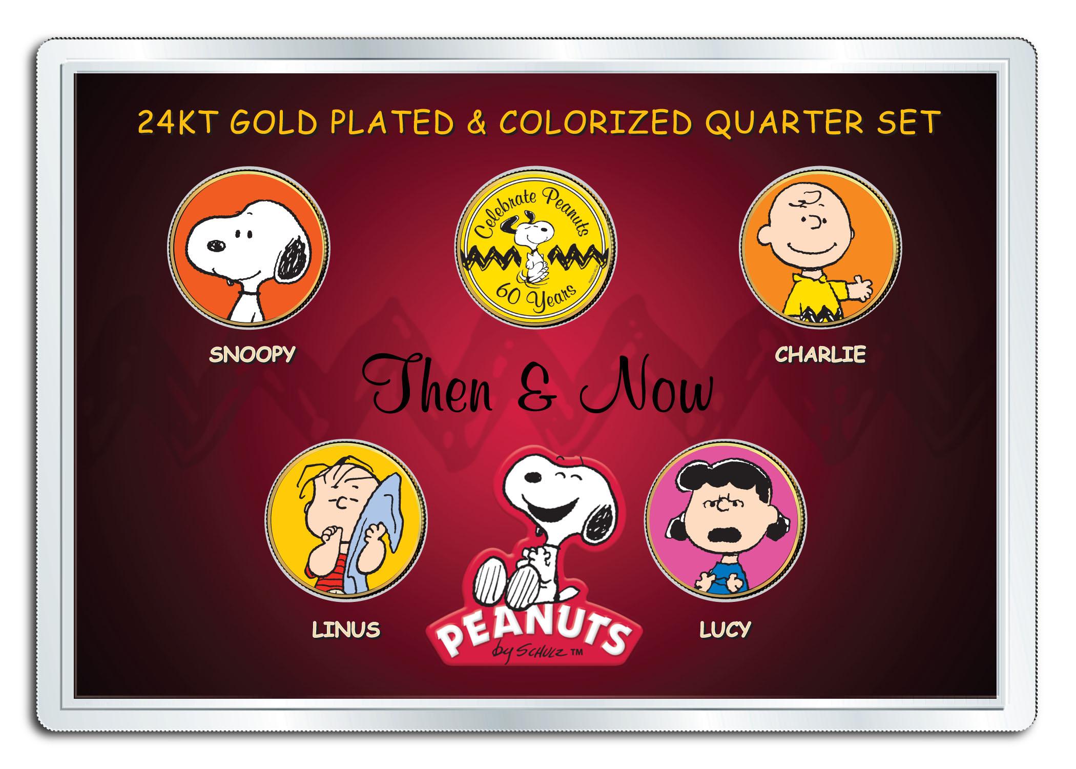 Americana CHARLIE BROWN Snoopy JFK Half Dollar Coin 24K Gold Plated PEANUTS
