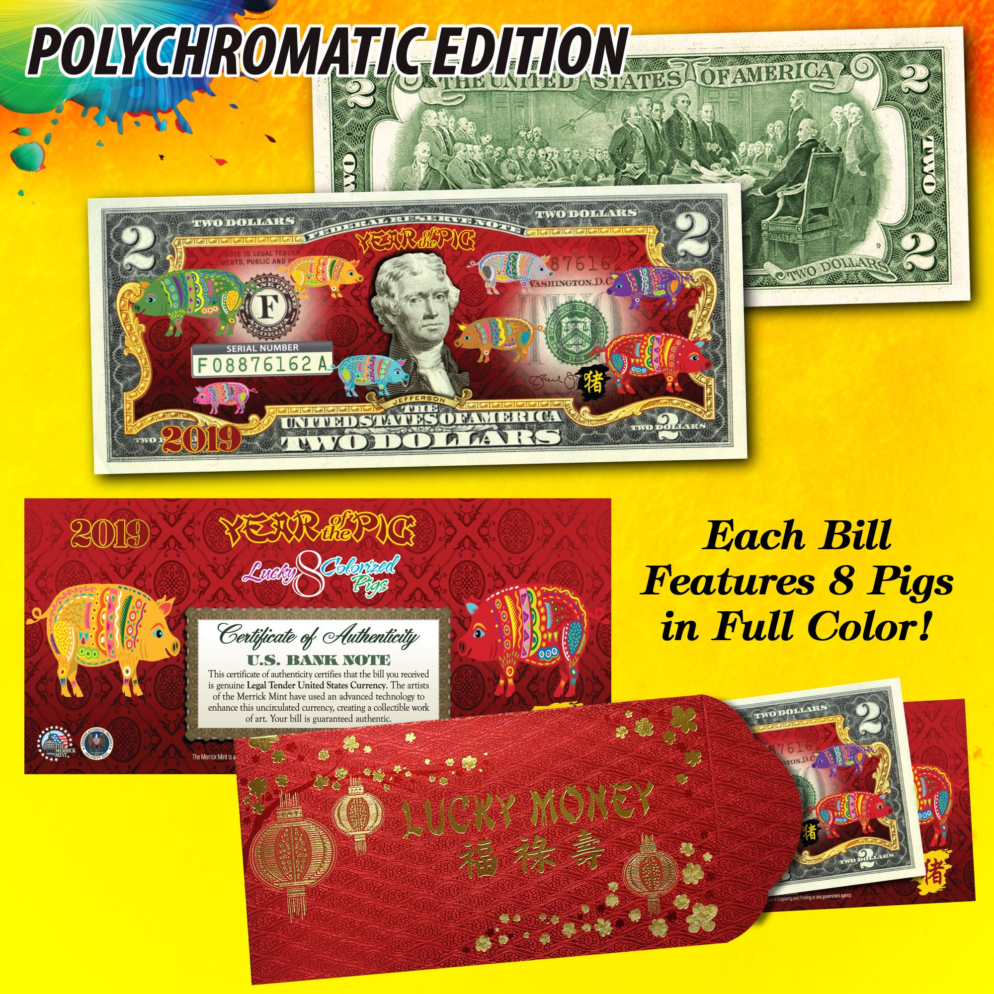 2017 Chinese Lunar CNY US $1 Bill YEAR OF THE ROOSTER Gold Hologram Red QTY 10