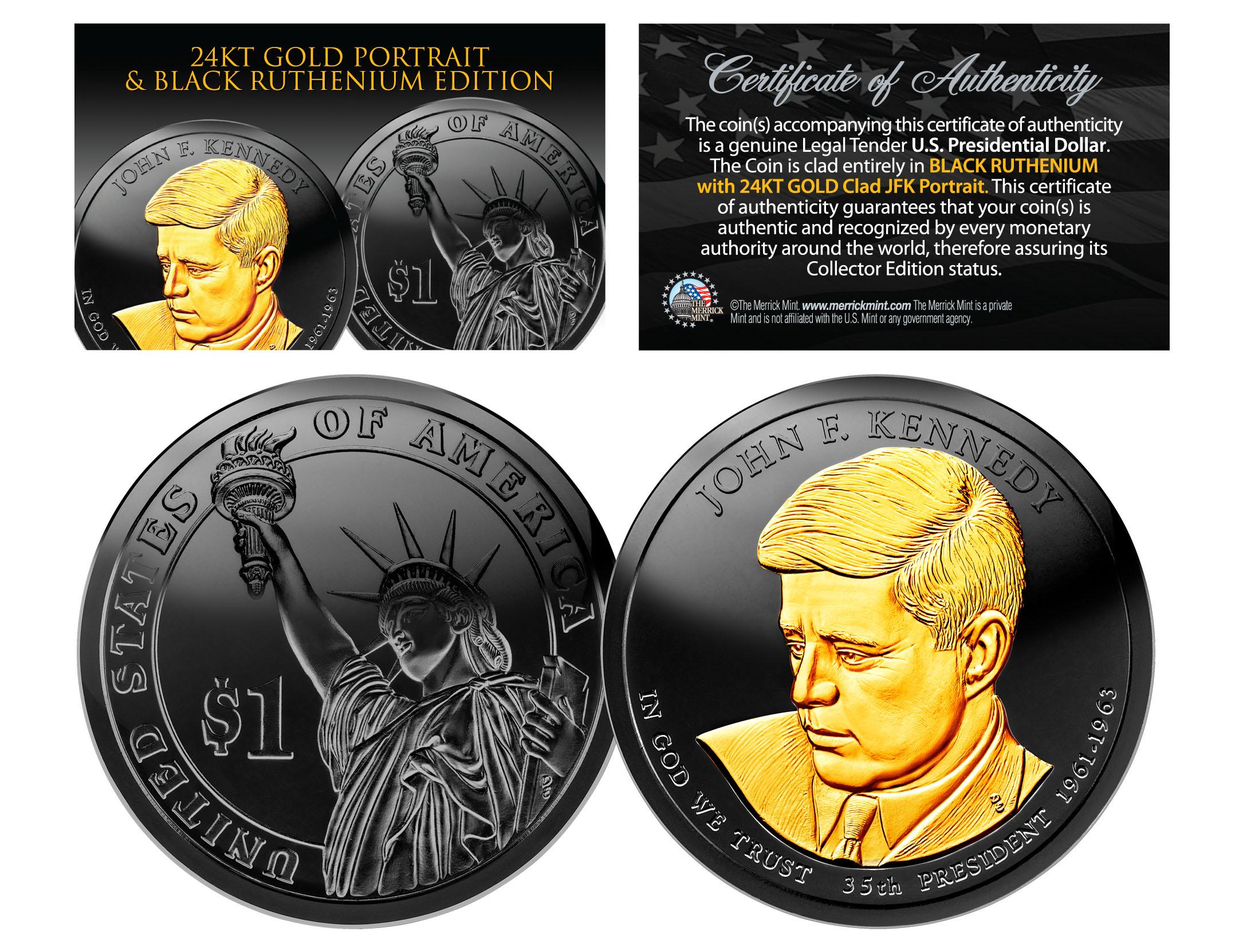 P/&D MINT 24K Gold Plated JOHN F KENNEDY 2015 Presidential $1 Dollar 2-Coin Set