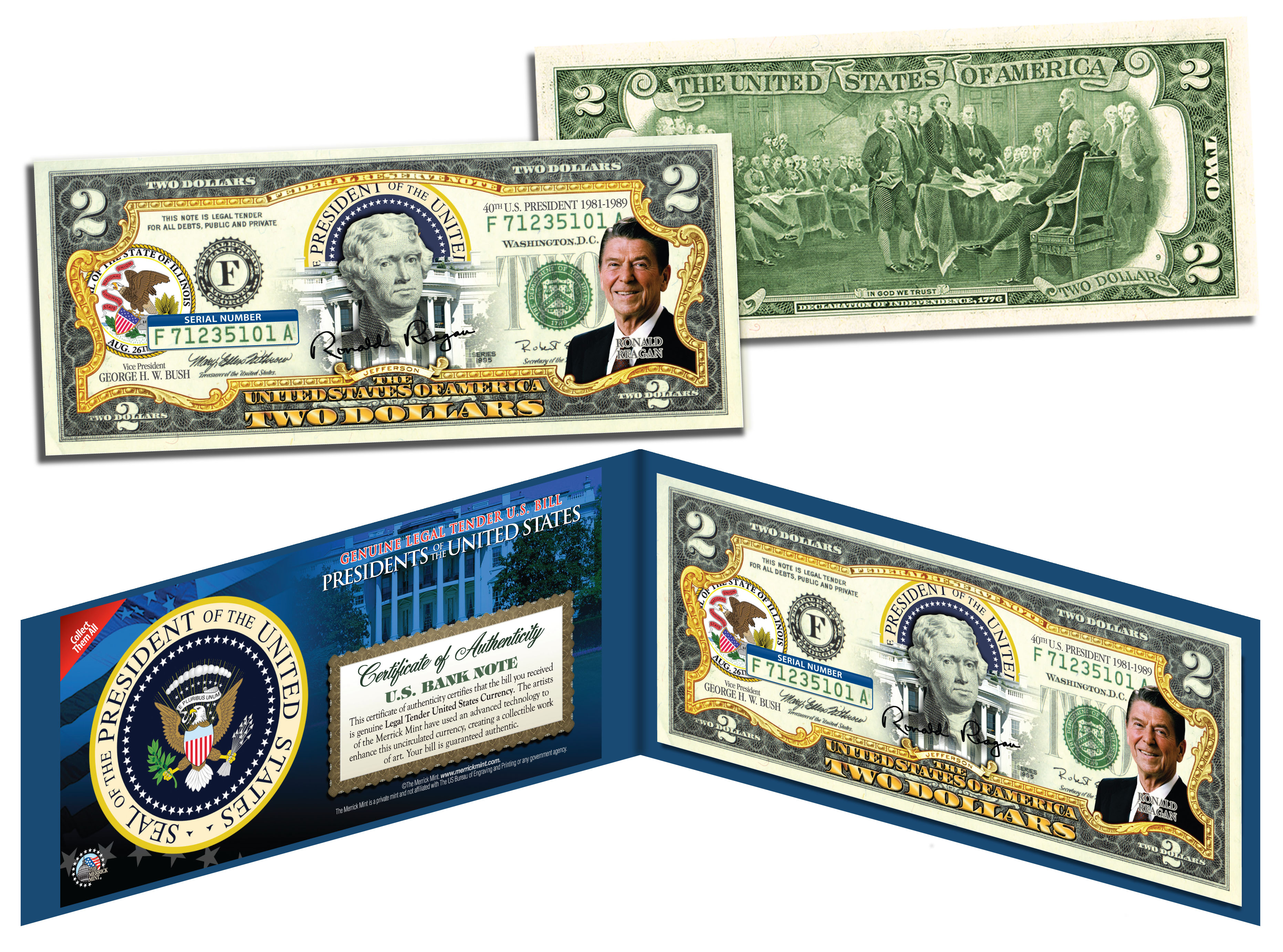 RONALD-REAGAN-40th-U-S-President-Colorized-2-Bill-US-Genuine-Legal-Tender