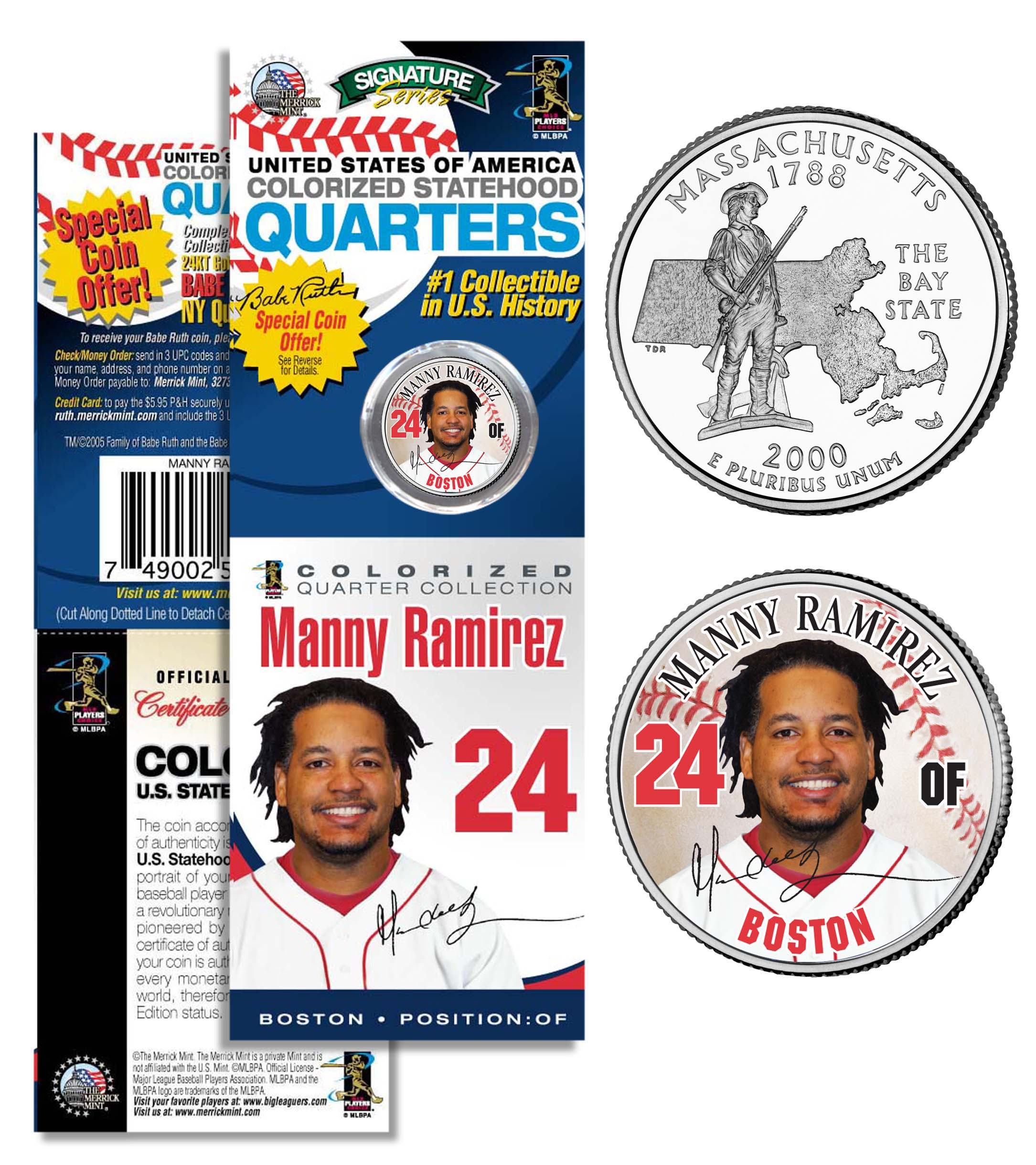 manny ramirez red sox promo massachusetts state quarter coin card