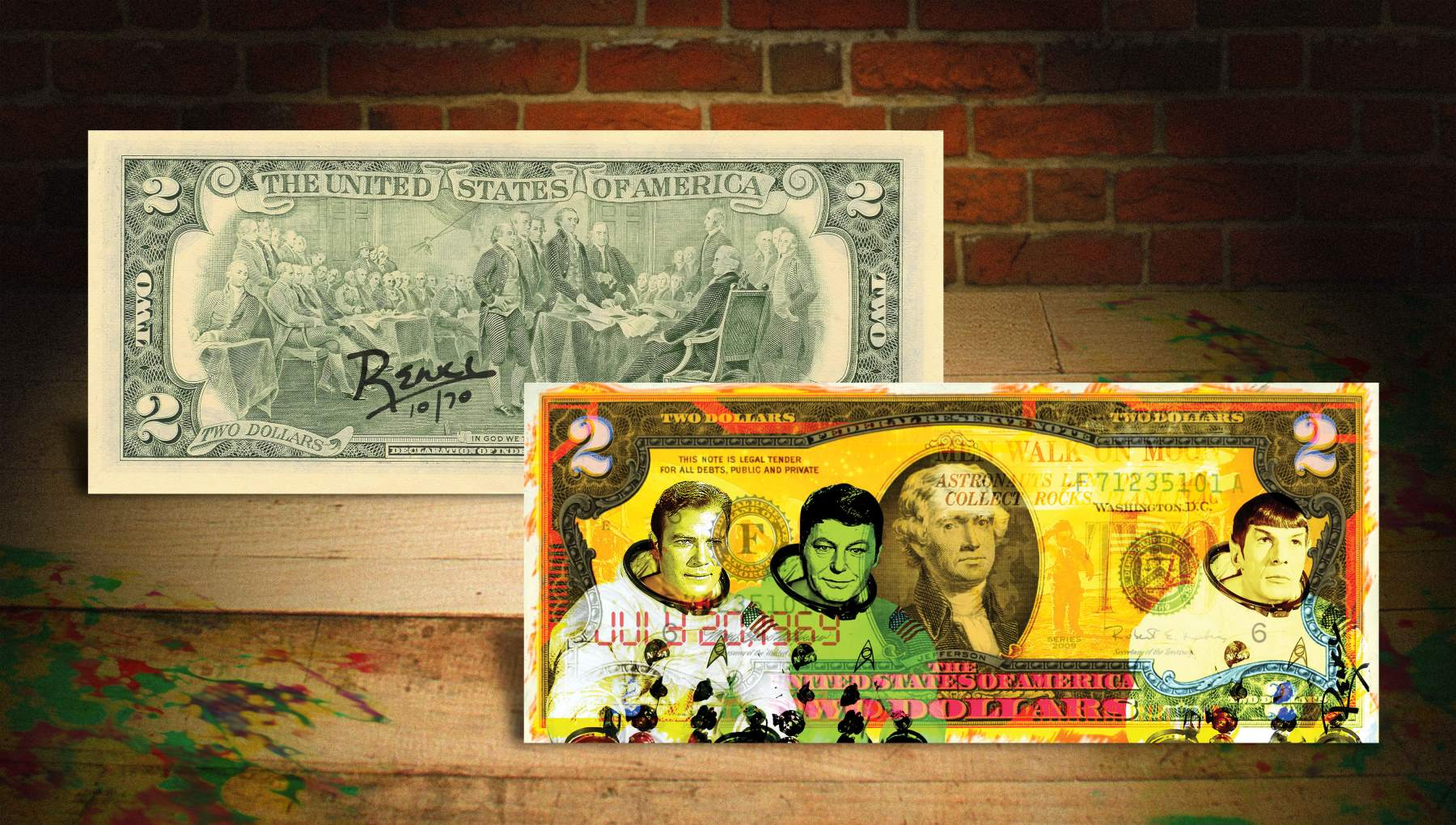 STAR TREK YELLOW Rency / Banksy Apollo 11 NASA Street Art on $2 Bill ...