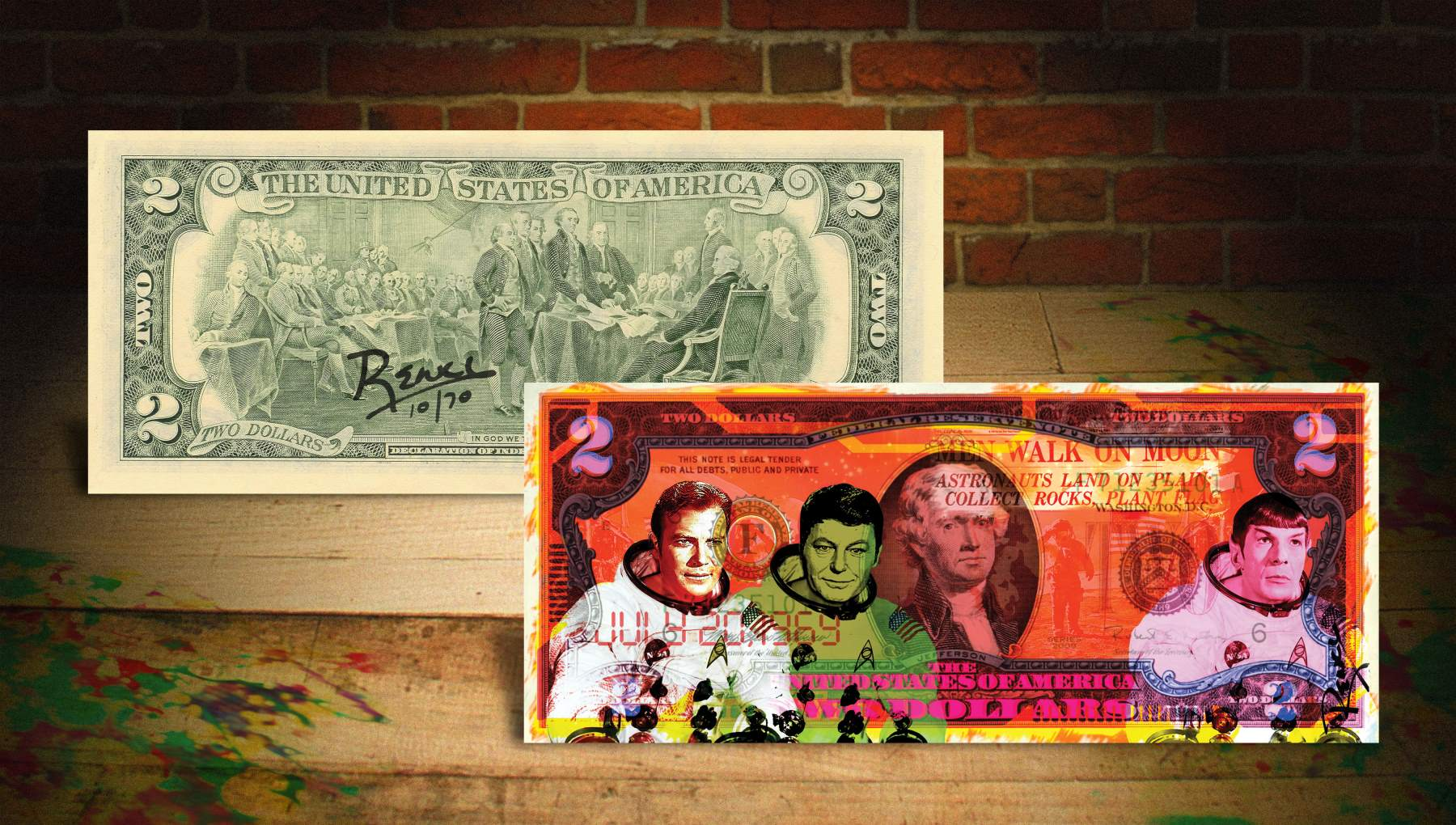 Star Trek Orange Rency Banksy Art 2 Bill Astronauts