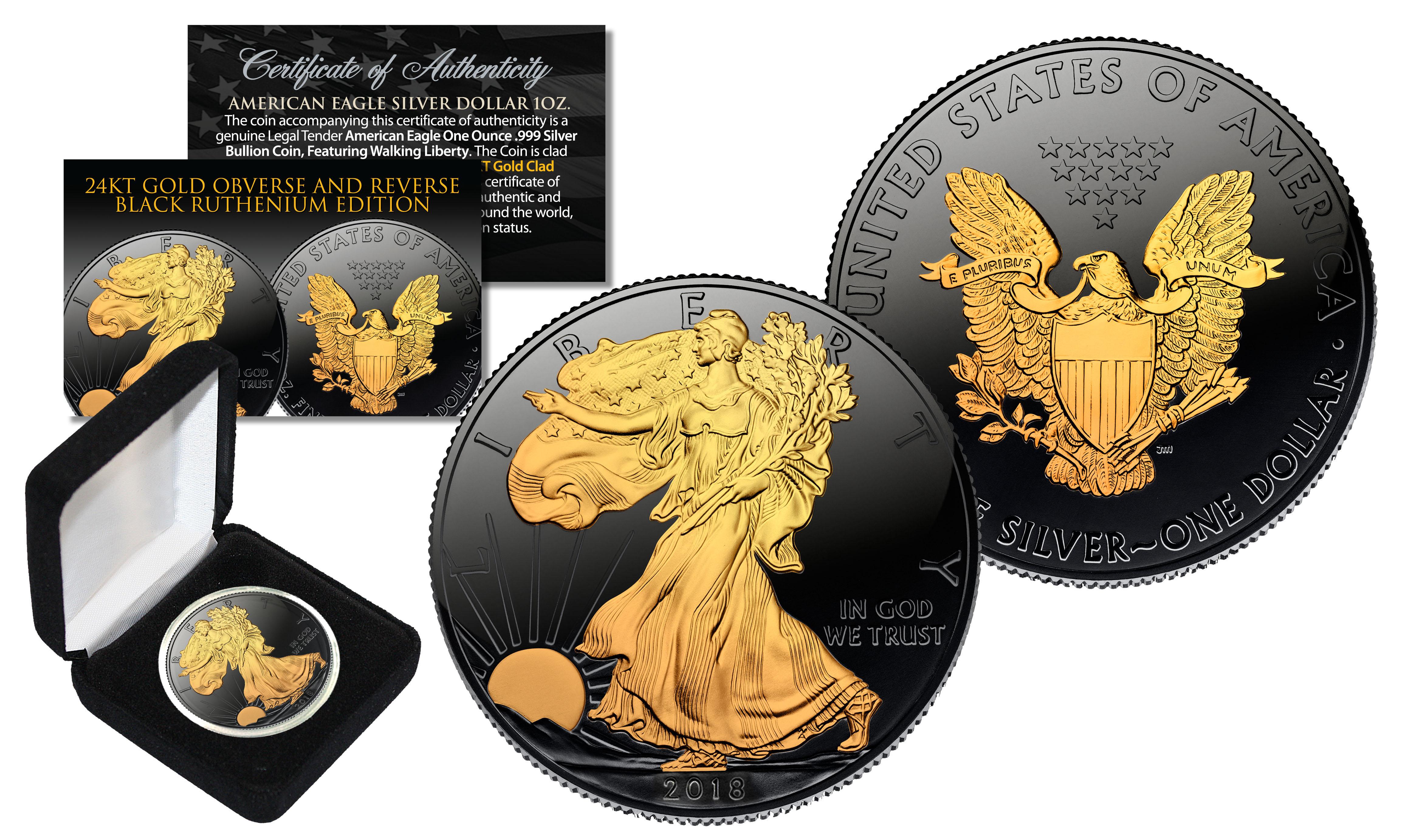 2019 1 oz .999 Silver American Eagle US Coin 24K Gold Gilded w// Black Ruthenium
