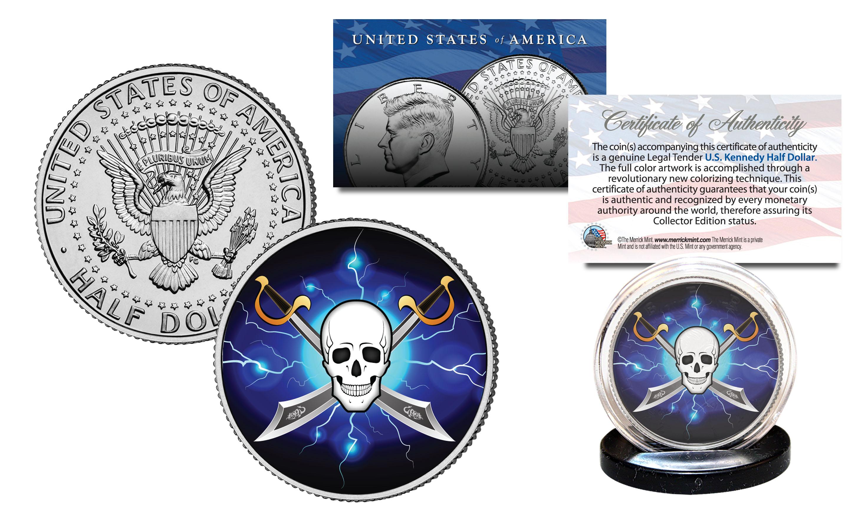 SKULL Official Legal Tender JFK Kennedy Half Dollar US Coin Pirate Swords Black