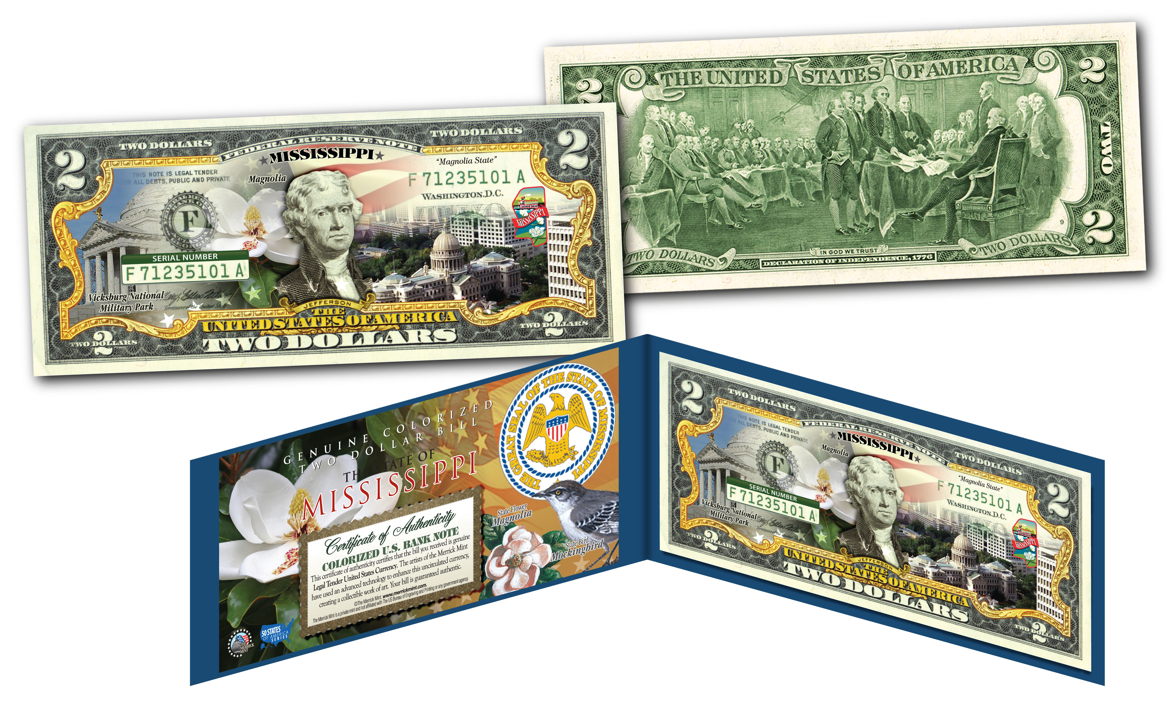 Vicksburg National Park Colorized $2 Bill Legal Tender