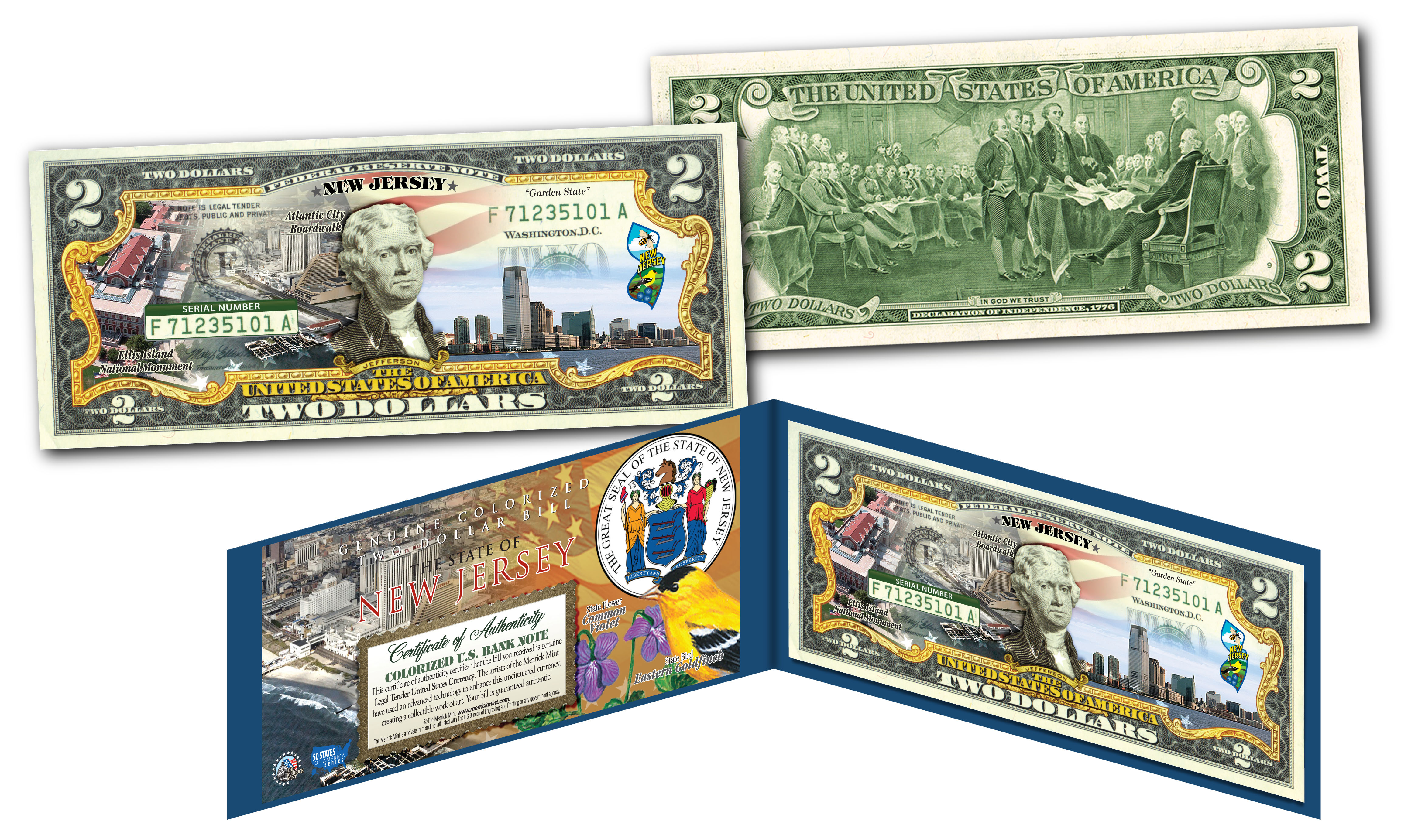 NEW JERSEY Genuine Legal Tender $2 Bill USA Honoring America/'s 50 States