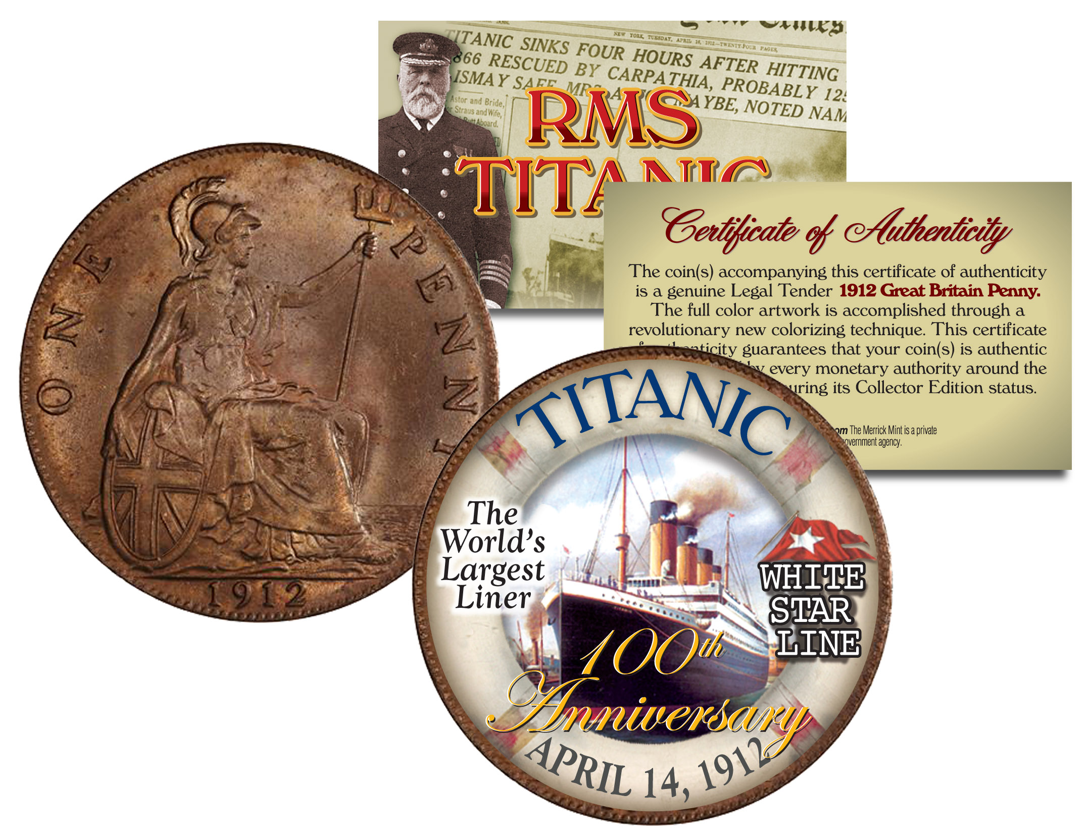 Details about RMS TITANIC *100th Anniversary* Colorized 1912 Great Britain  Penny Coin British
