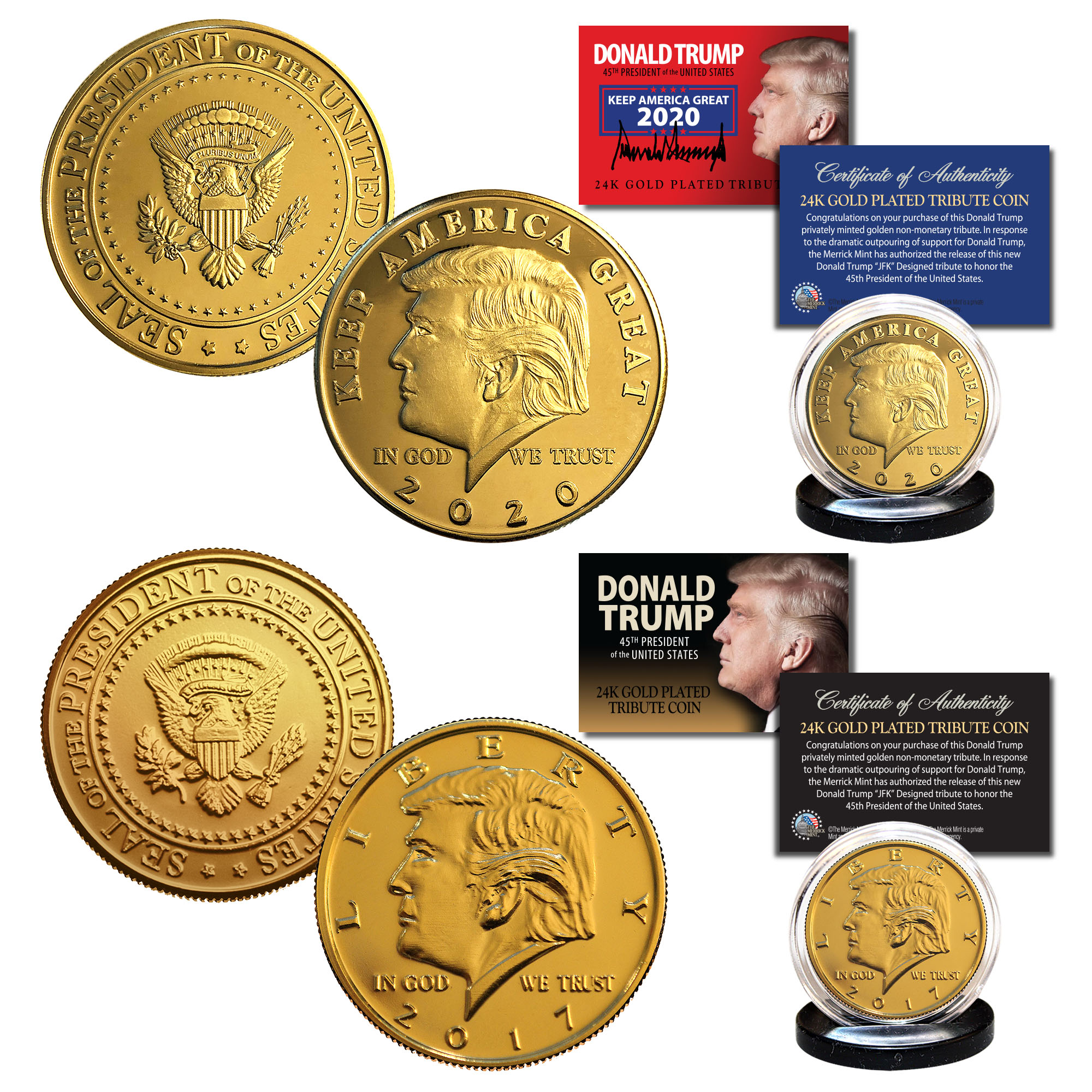 Donald Trump  45th President of USA     24K GOLD  PLATED MEMORABILIA COIN #1