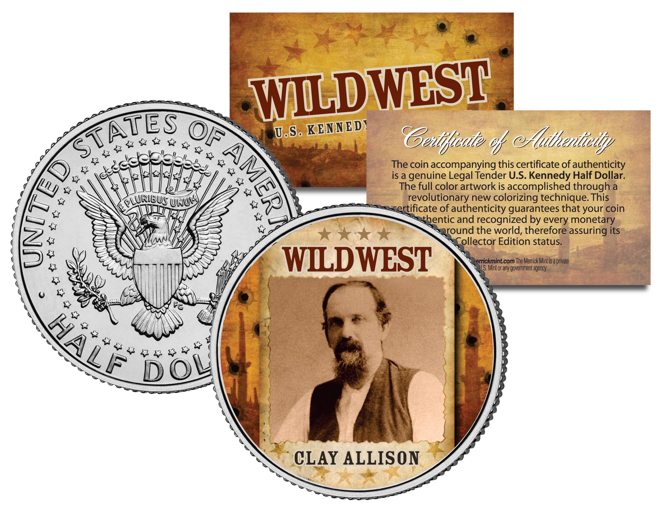 CLAY ALLISON Wild West Series Coin JFK Kennedy Half Dollar U.S