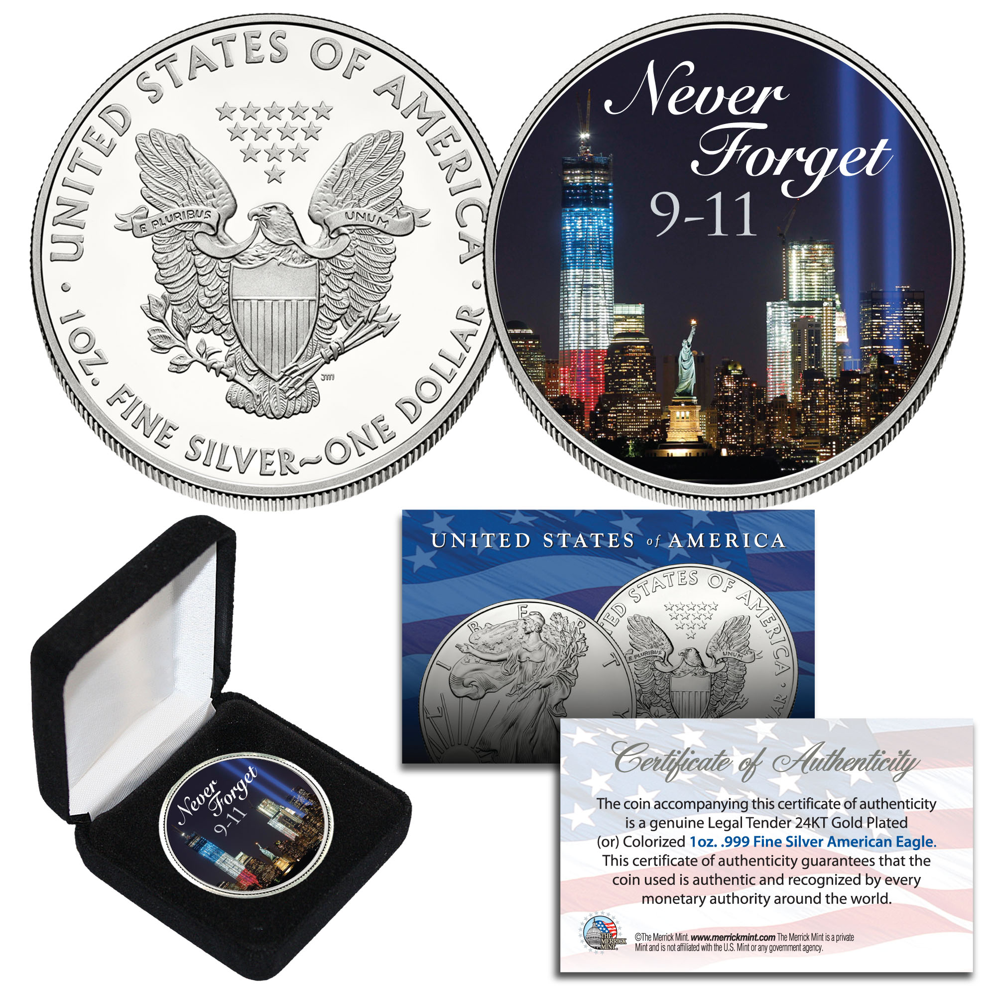 """NEW  2001 WORLD TRADE CENTER /""""NEVER FORGET/"""" SILVER EAGLE DOLLAR .999  1 oz."""