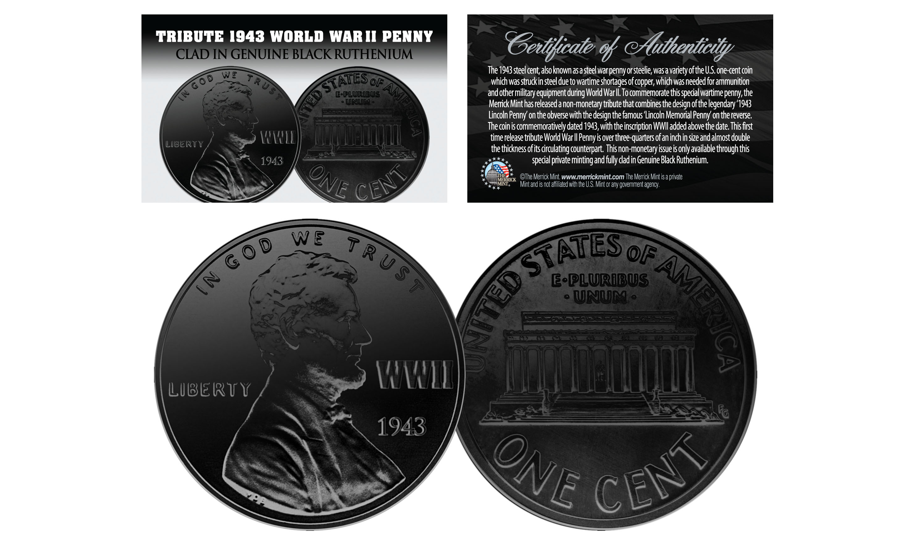1943 Tribute Steelie Wwii Penny Coin Clad In Genuine Black Ruthenium