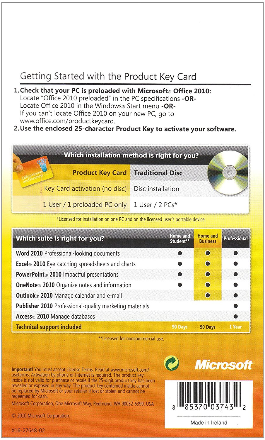 Product Key Card Only Microsft Office Home And Student 2010