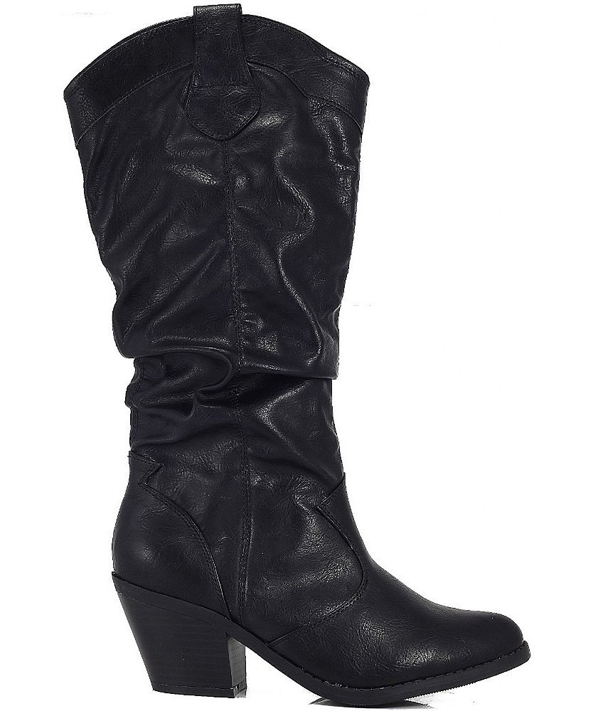 Qupid-MUSE-01-Western-Cowboy-Inspired-Slouchy-Mid-Calf-Knee-High-Stacked-Heel miniature 5