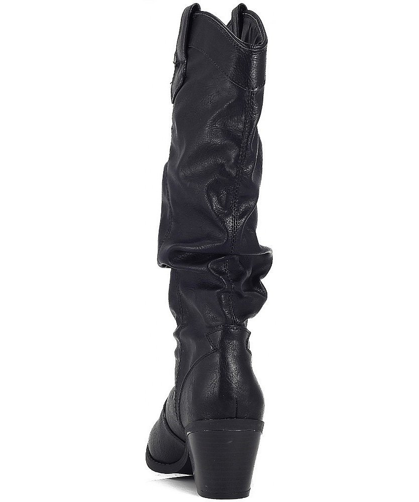 Qupid-MUSE-01-Western-Cowboy-Inspired-Slouchy-Mid-Calf-Knee-High-Stacked-Heel miniature 6