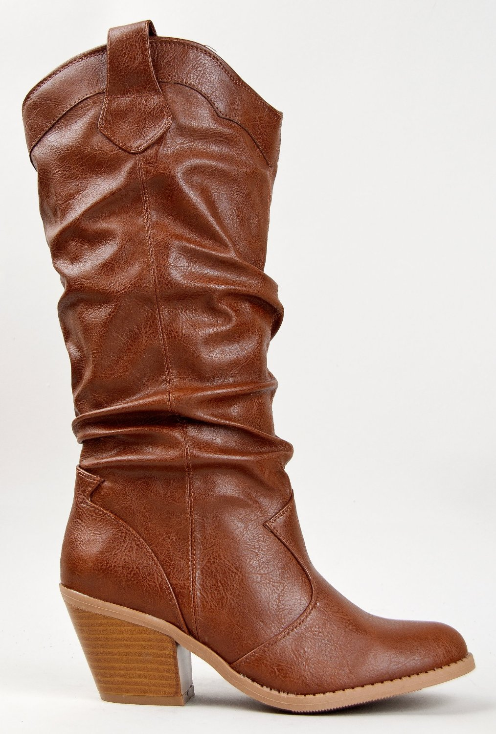 Qupid-MUSE-01-Western-Cowboy-Inspired-Slouchy-Mid-Calf-Knee-High-Stacked-Heel miniature 11