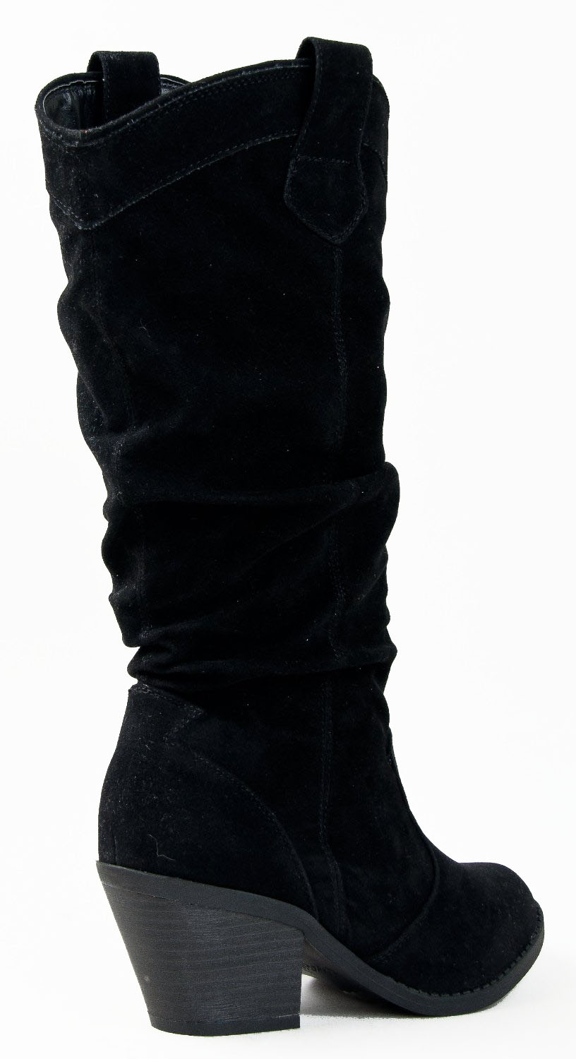 Qupid-MUSE-01-Western-Cowboy-Inspired-Slouchy-Mid-Calf-Knee-High-Stacked-Heel miniature 9