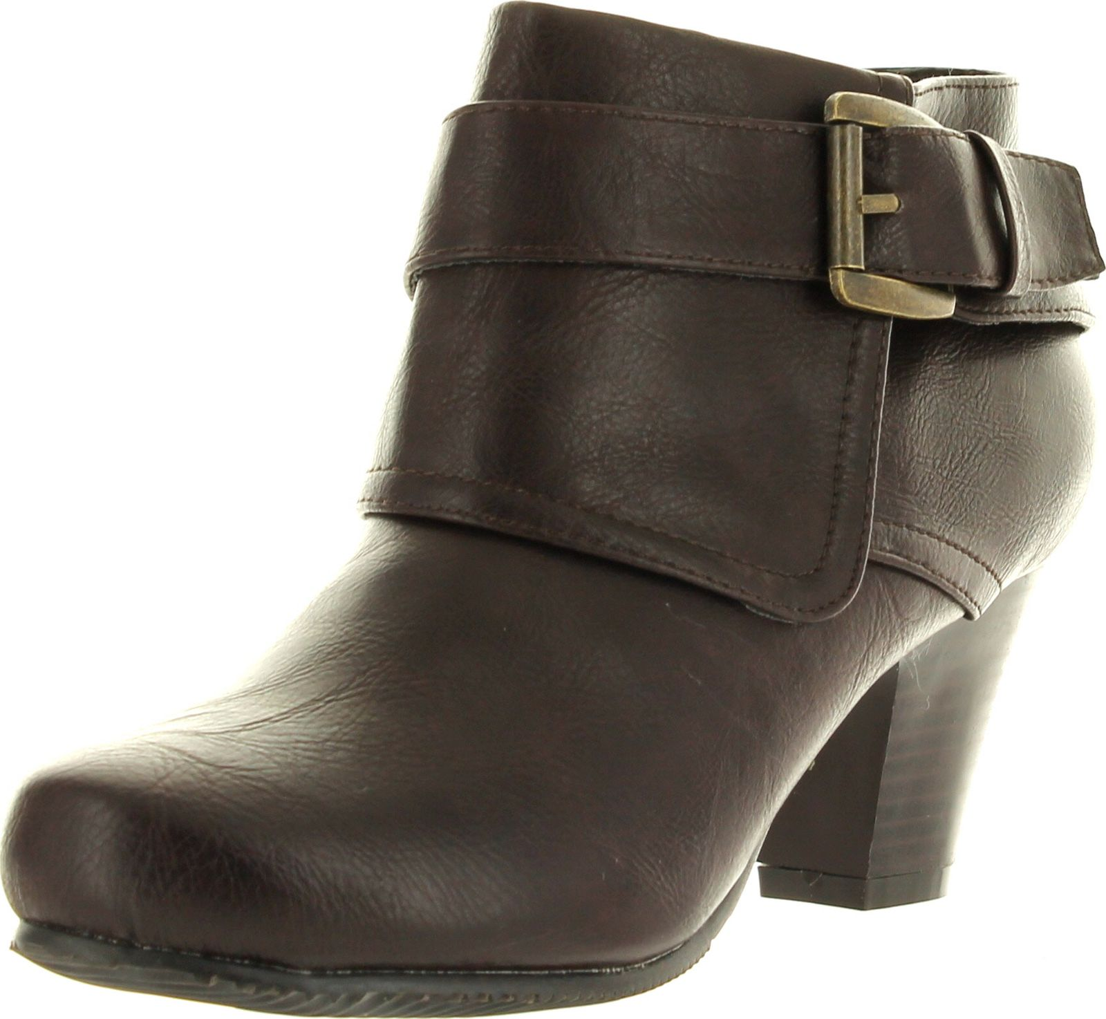 Dara-1 Womens Buckle Ankle Strap Side Zip Chunky Ankle Booties