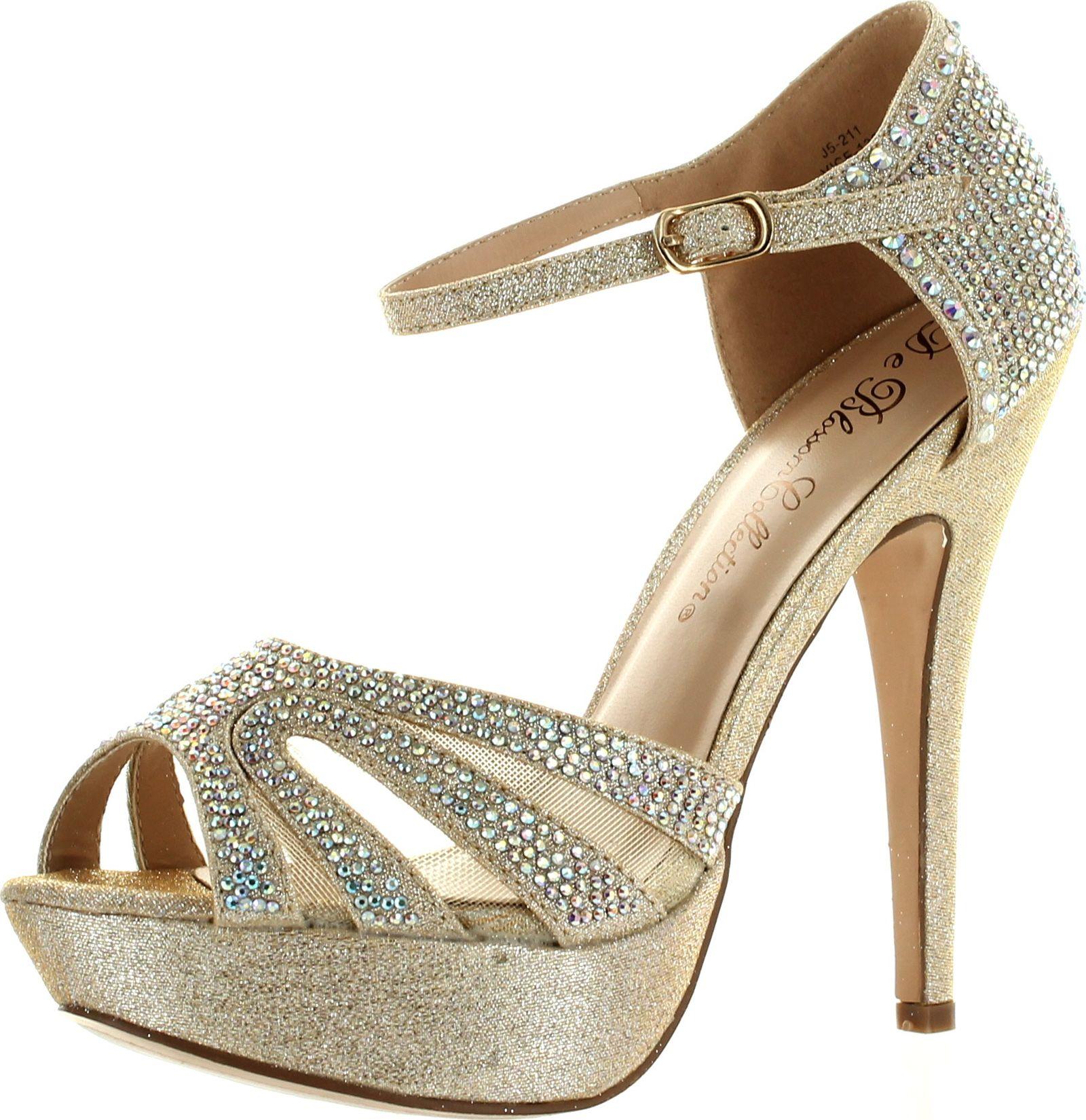 De Blossom Womens Strappy Glitter Stiletto Platform Ankle