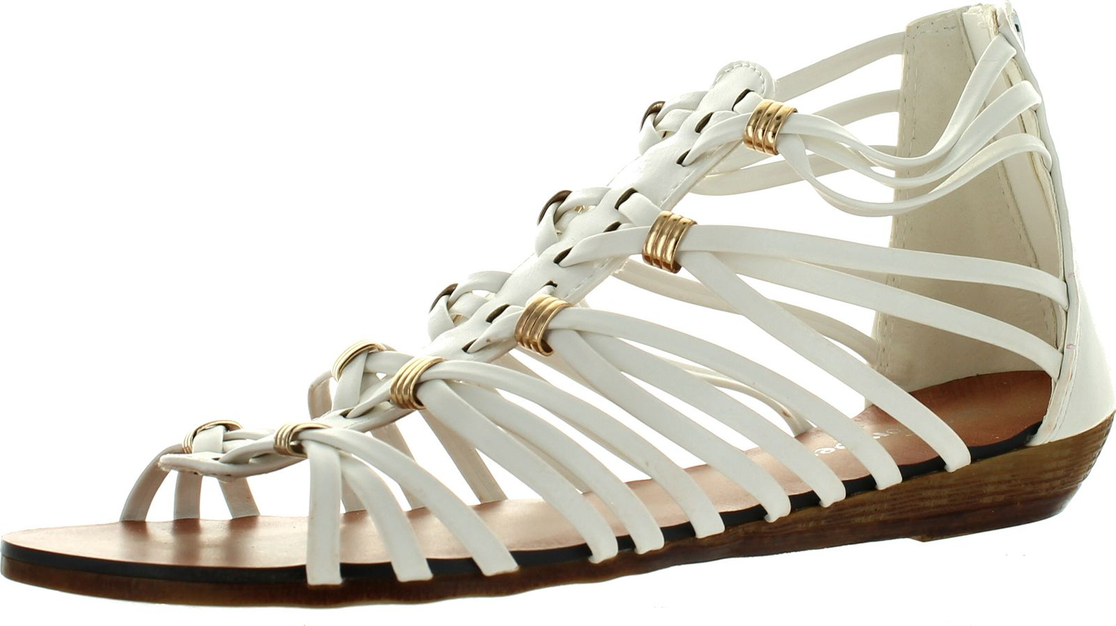 Womens Back Zip Strappy Wedge Sandals