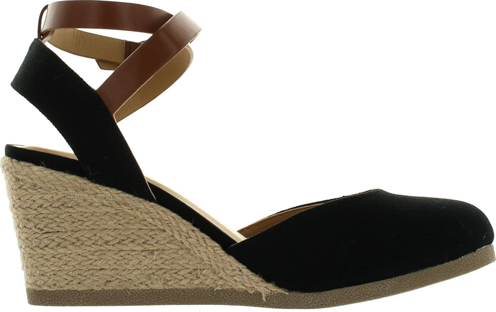 da5459c3ac7 Soda Womens Request Closed Toe Espadrille Wedge Sandal in Black Dark Tan  Linen