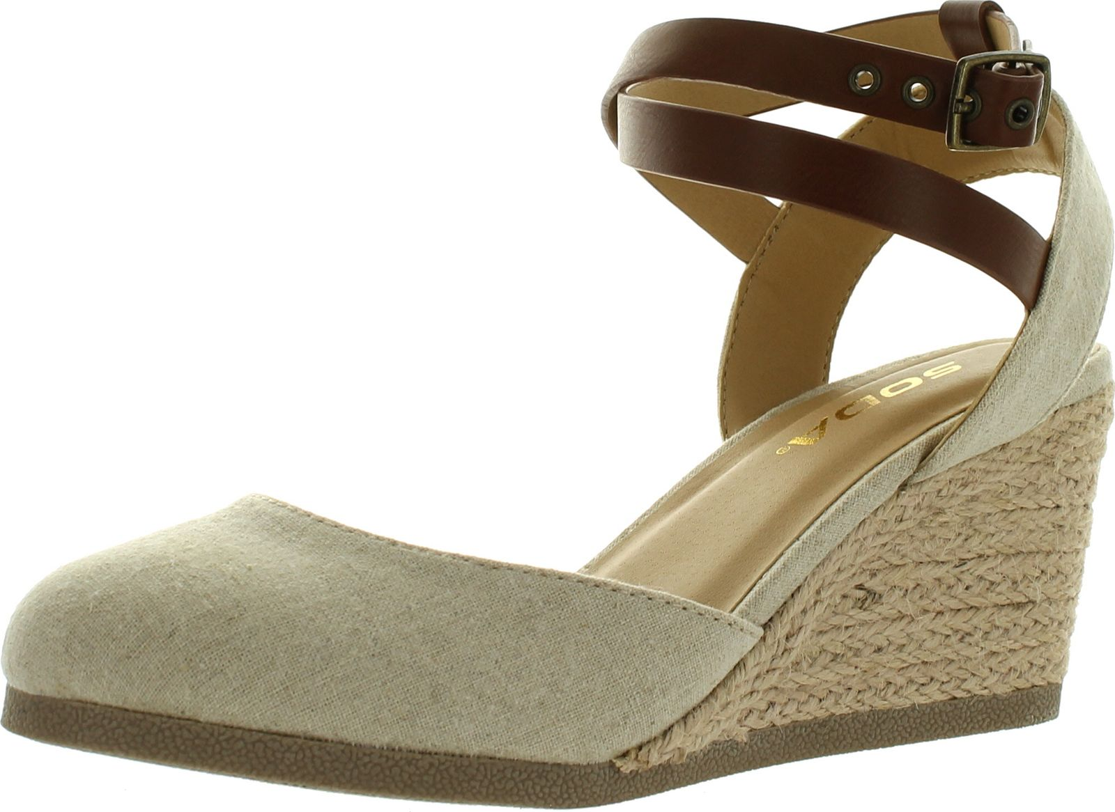 Soda Womens Request Closed Toe Espadrille Wedge Sandal In ...