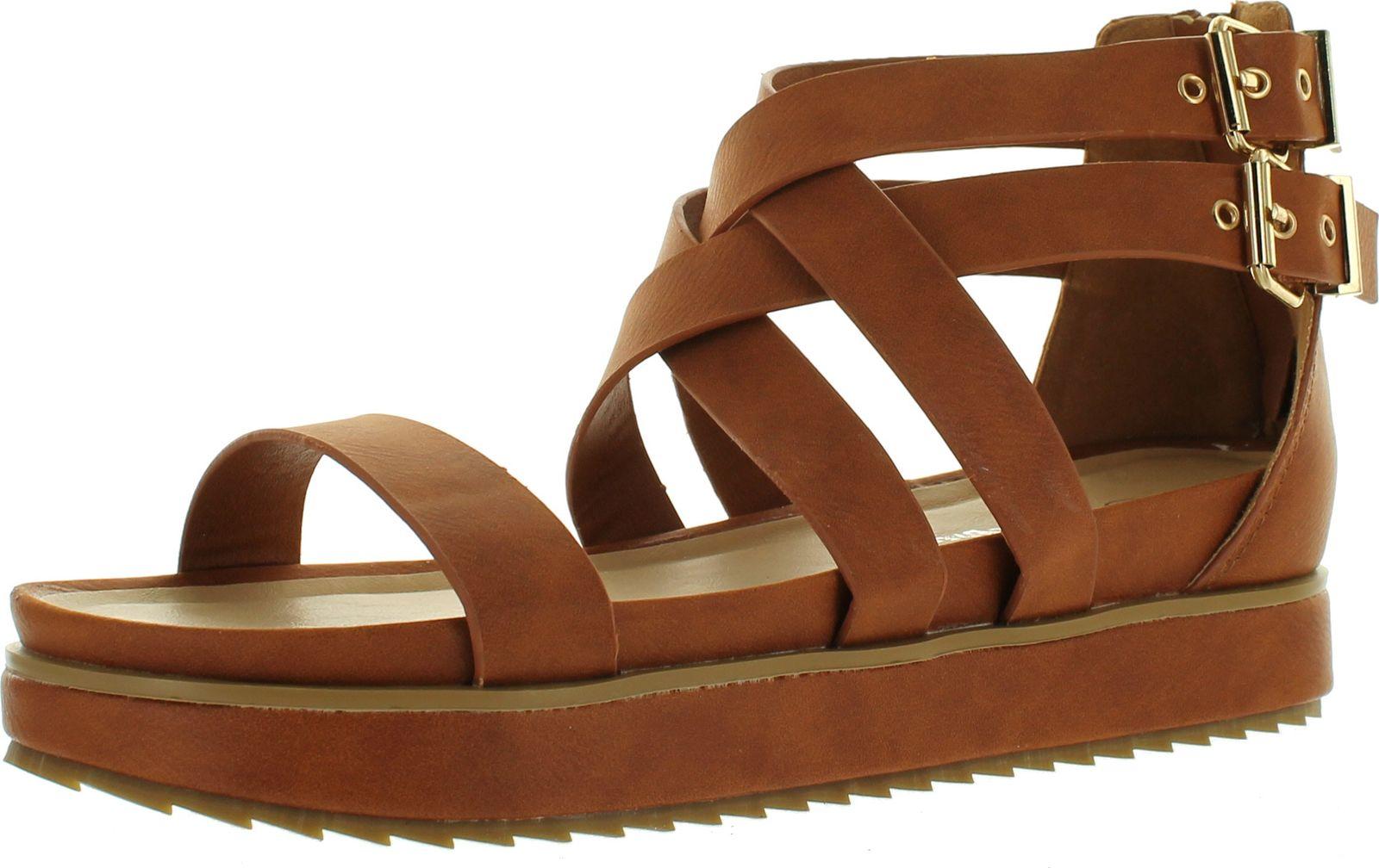 0d5740fe2a Nature Breeze Women Gorgeous-02 Leatherette Open Toe Strappy Flatform Flat  Sandal - Tan - ShoeCenter.com