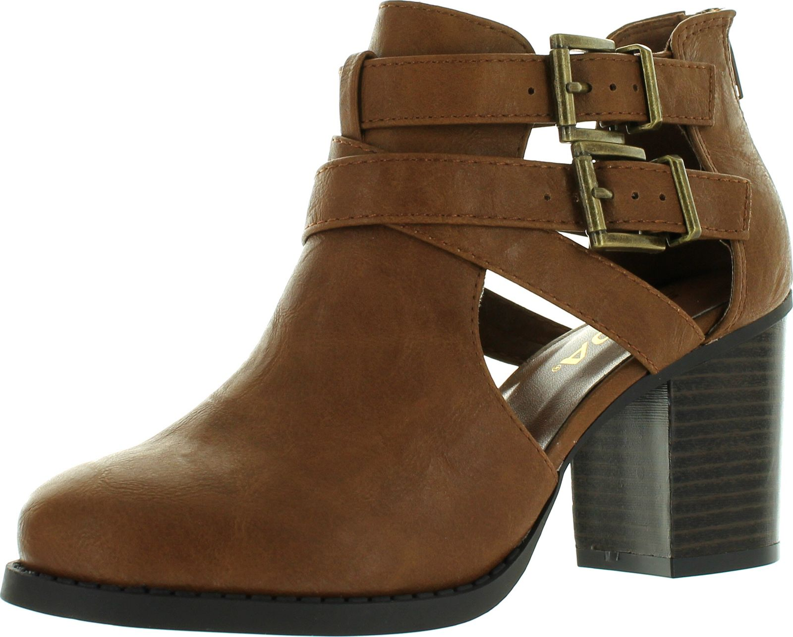 Women's Ankle Bootie With Low Heel and Cut-Out Side Design