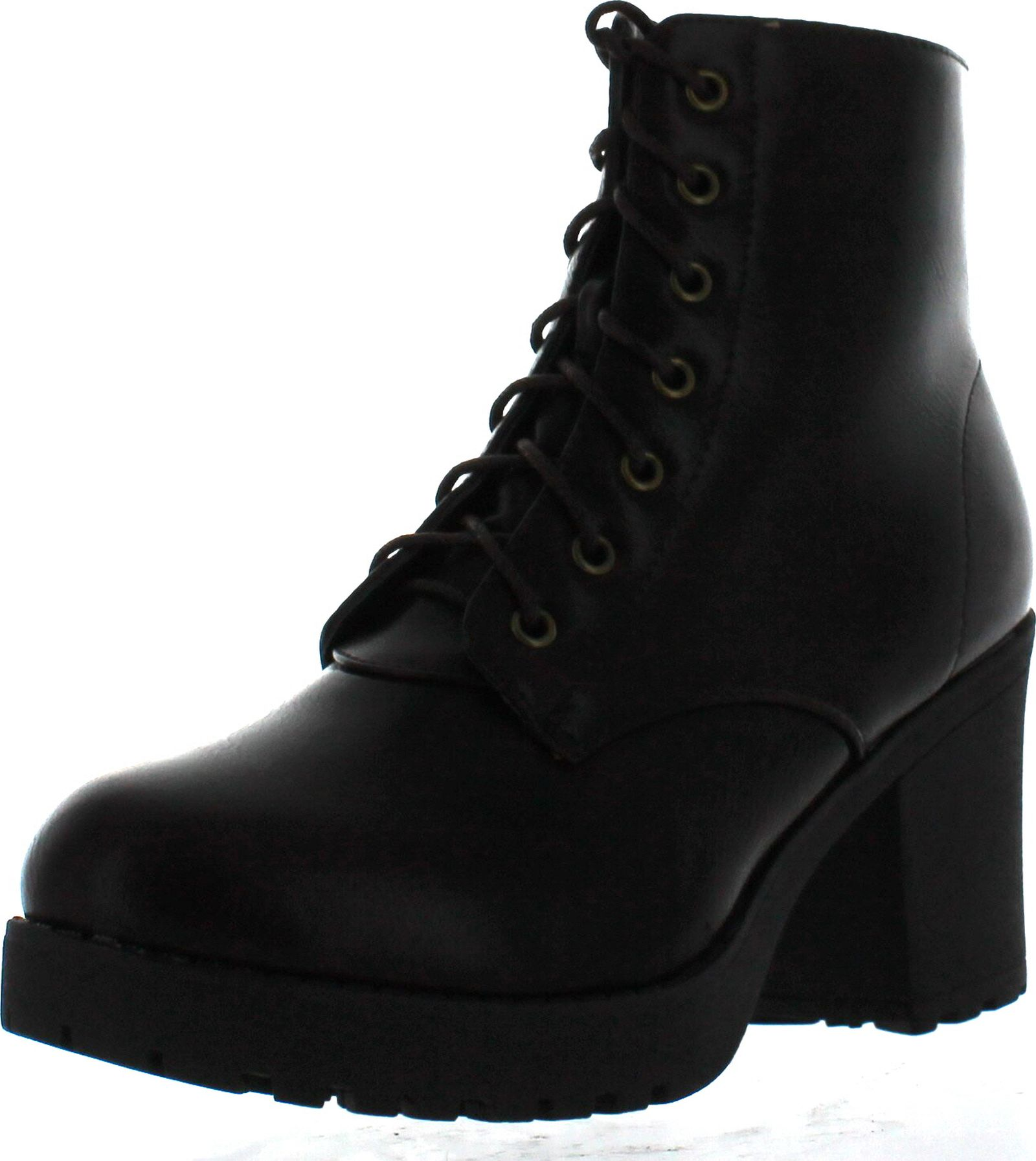 d1a4617e2cee Refresh Club-02 Women s Lace Up Side Zip Platform Chunky Combat Ankle  Booties - ShoeCenter.com