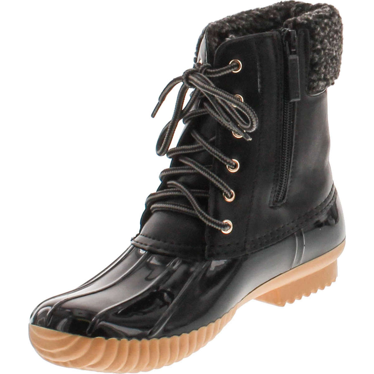 Nature Breeze Womens Stitching Lace Up Side Zip Waterproof Insulated Duck Boots