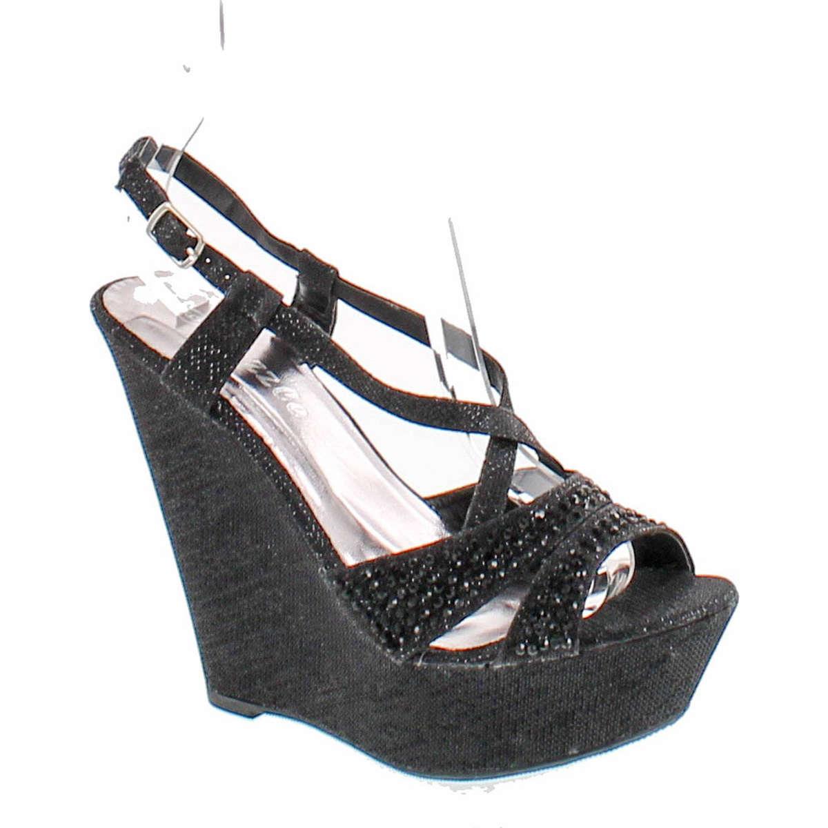 4c5b39b34e70 Bella Luna Emmy-10 Women s Open Toe Slingback Platform Strap Wedge Sandals  - ShoeCenter.com