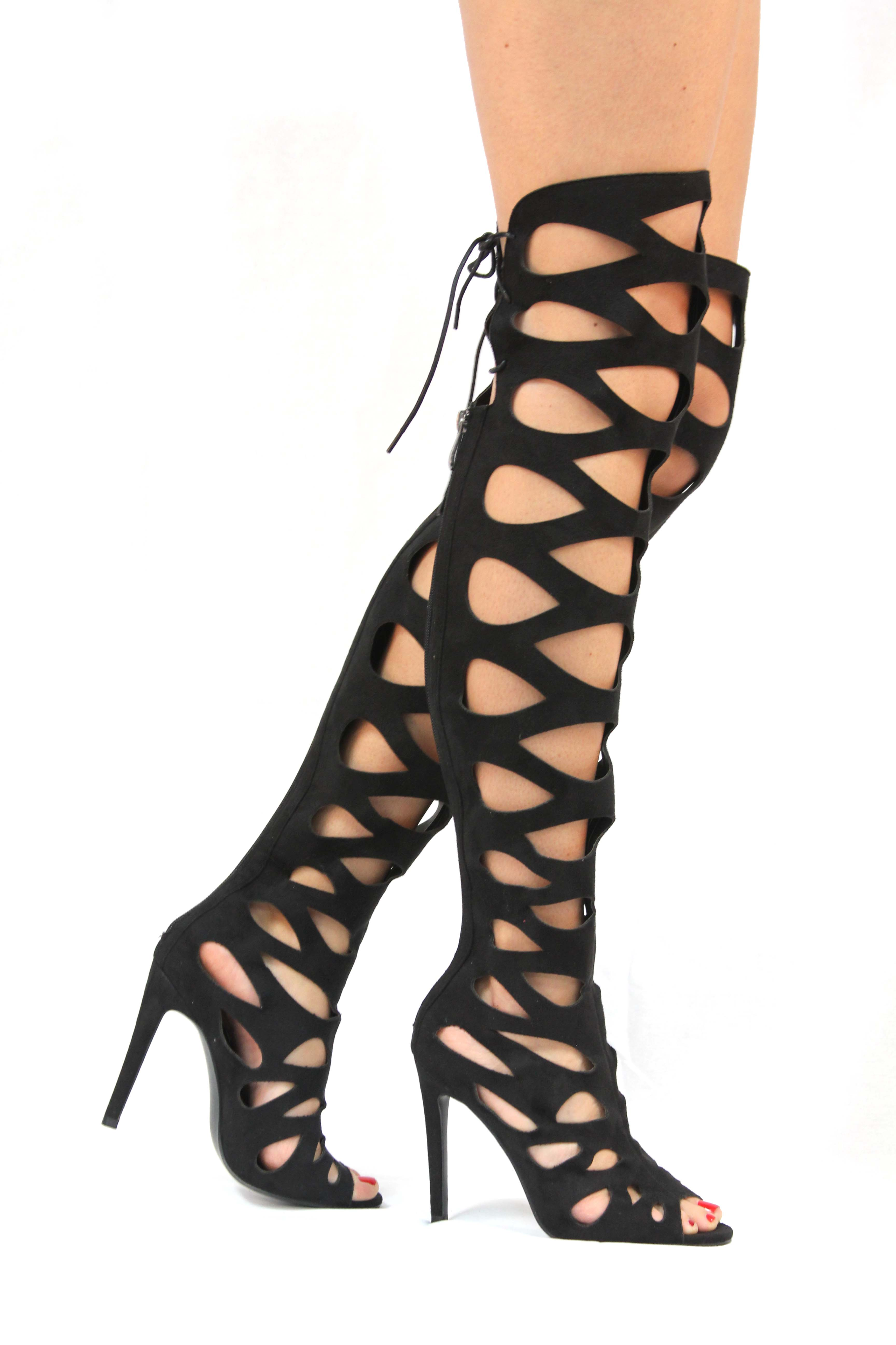 Static Fashion Damenschuhe Strappy Heel Cut Out High Heel Strappy Gladiator Sandales with Back Zip f6dc92