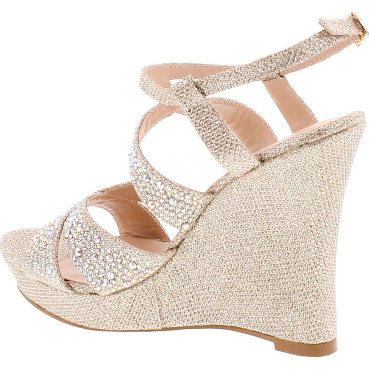 0cc1f093d7fc De Blossom ALLE-8 High Heel Wedge Sandal with Crystal Embellishment ...