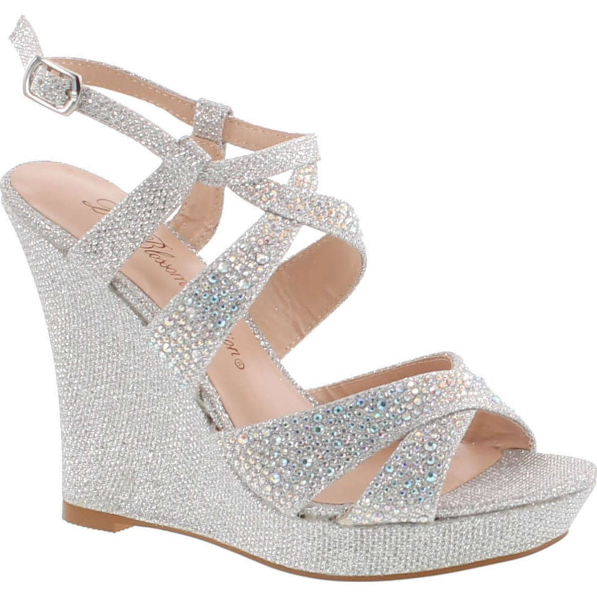 Womens High Heel Wedge Sandal with Crystal Embellishment Style BALLE8 Under Discount Size 36