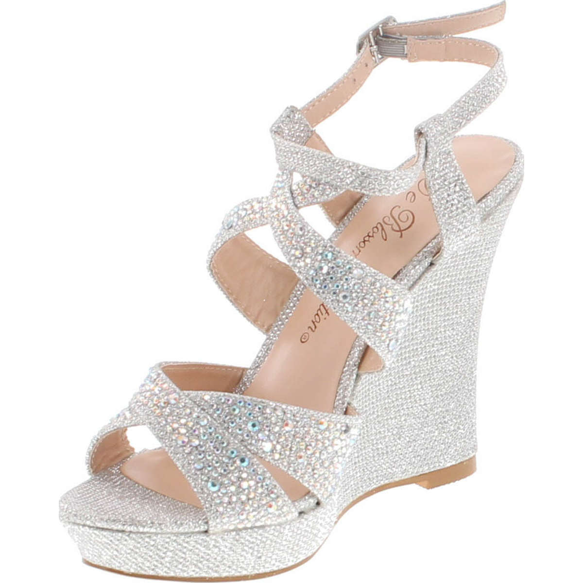 ec918901934c Static Footwear De Blossom Alle-8 High Heel Wedge Sandal With Crystal  Embellishment Style Balle8