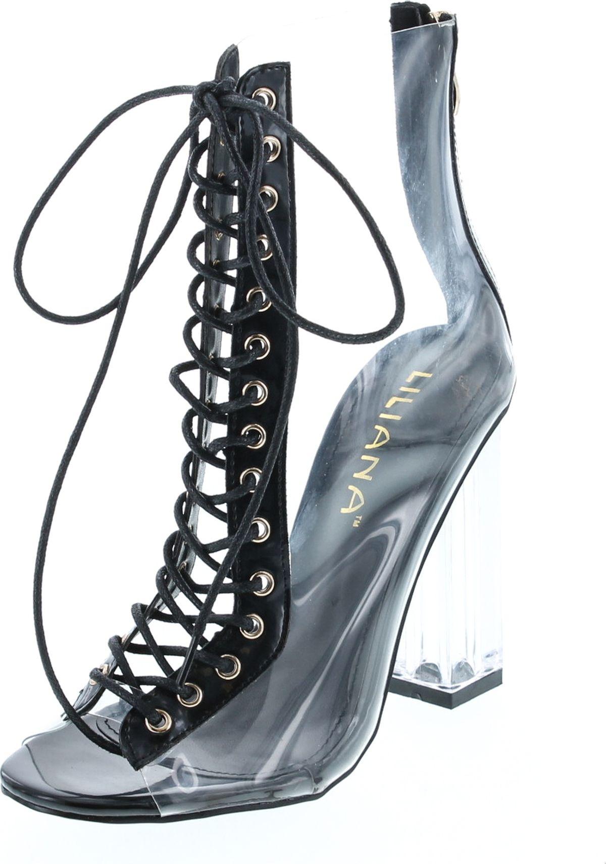 ca8ce39626e Clear Translucent Transparent Lace Up Peep Toe Ankle Bootie W Perspex Block  Heel - ShoeCenter.com