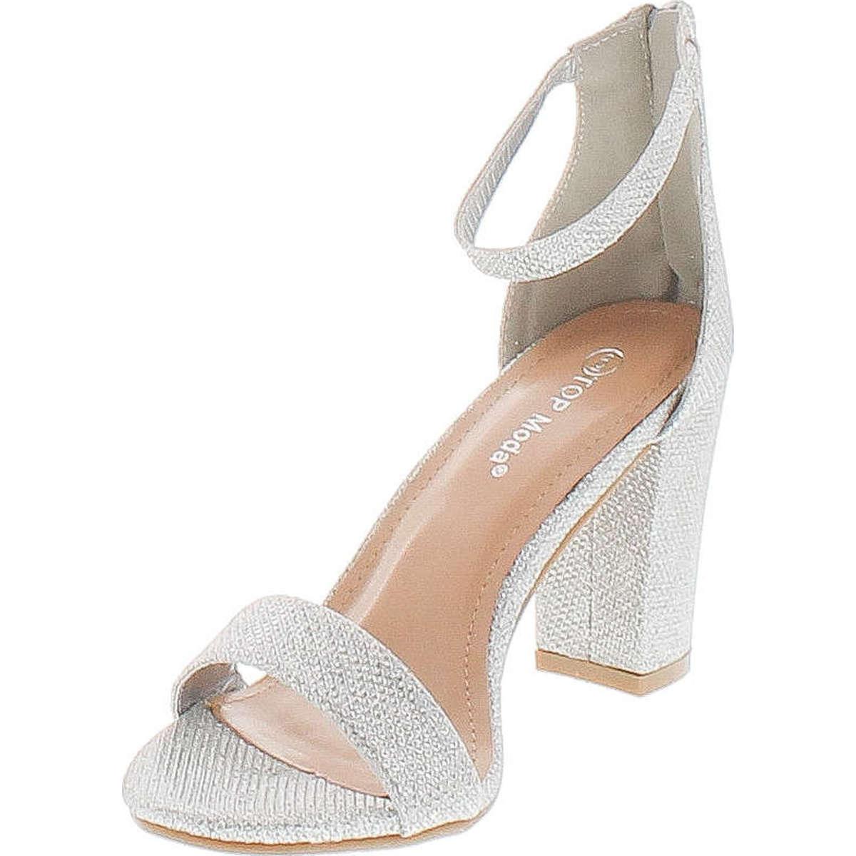 4e196155b21 Top Moda Womens Hannah-1 Platform Chunky Heel Metallic Glitter Party Ankle  Strap High Heel Sandal - ShoeCenter.com
